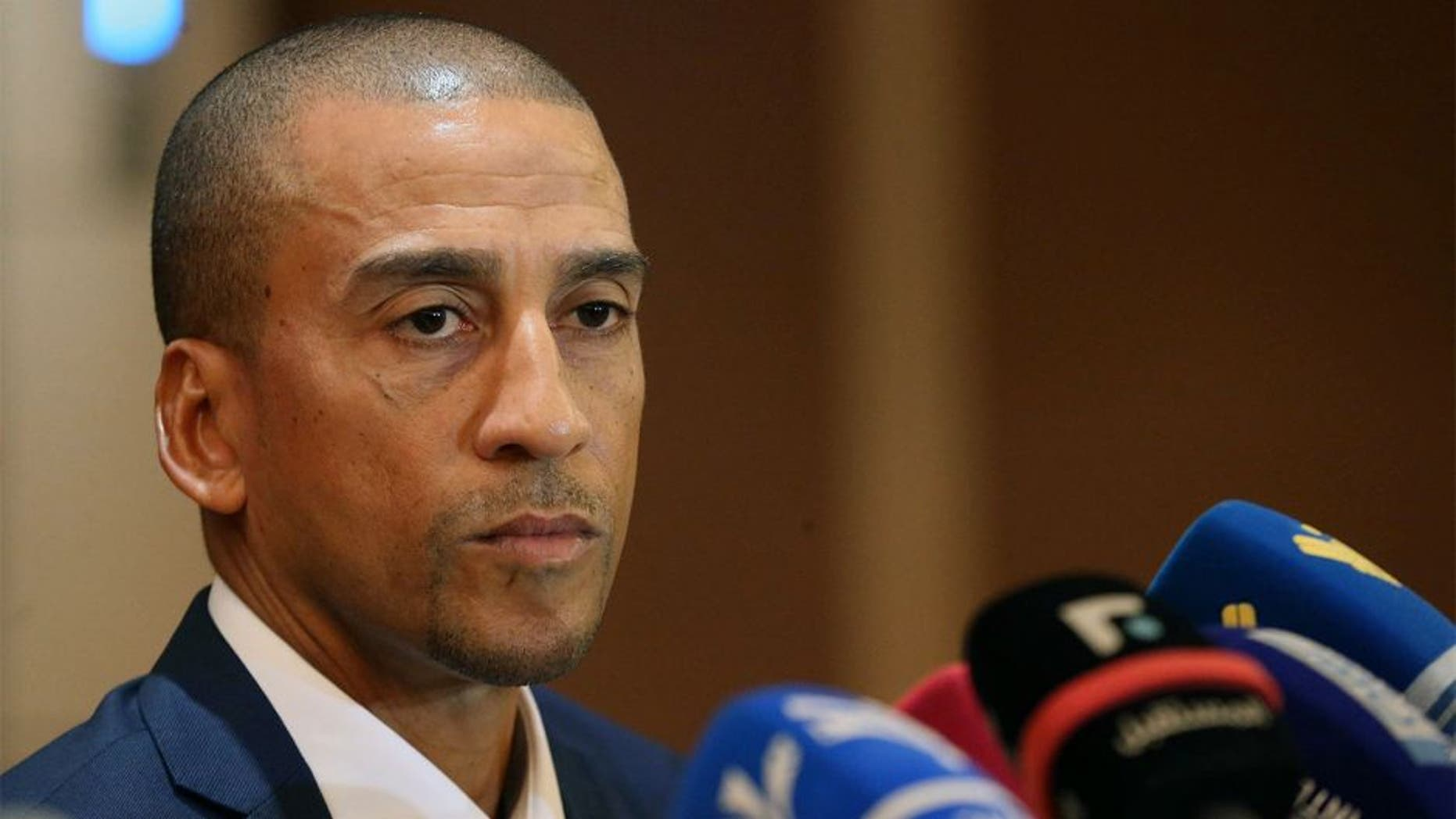 Former Trinidad and Tobago's football player David Nakhid speaks during a press conference to launch his bid to succeed FIFA president Sepp Blatter on September 28, 2015 in the Lebanese capital Beirut. The election to find a successor to Sepp Blatter will be held in Zurich on February 26, 2016. AFP PHOTO / STR (Photo credit should read -/AFP/Getty Images)