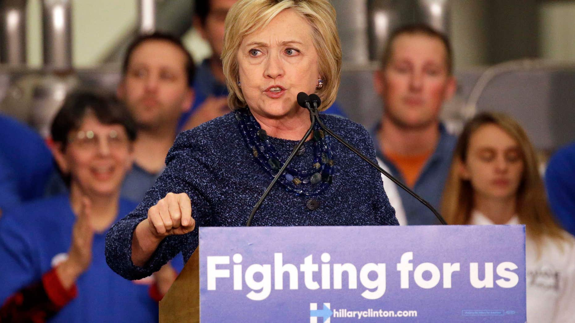 Dec. 11, 2015: Democratic presidential candidate Hillary Clinton speaks to supporters during a campaign stop at a union hall in St. Louis.