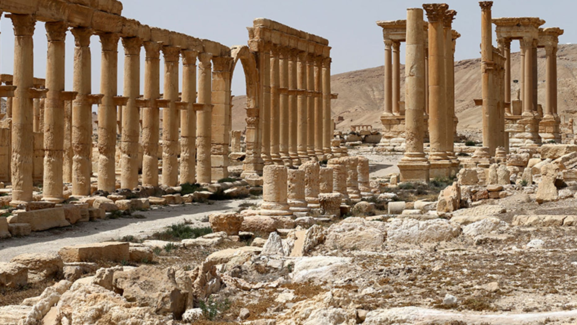 This file photo taken Friday, April 8, 2016 and provided by Russian Defense Ministry press service, shows the ancient ruins in Palmyra, Syria.