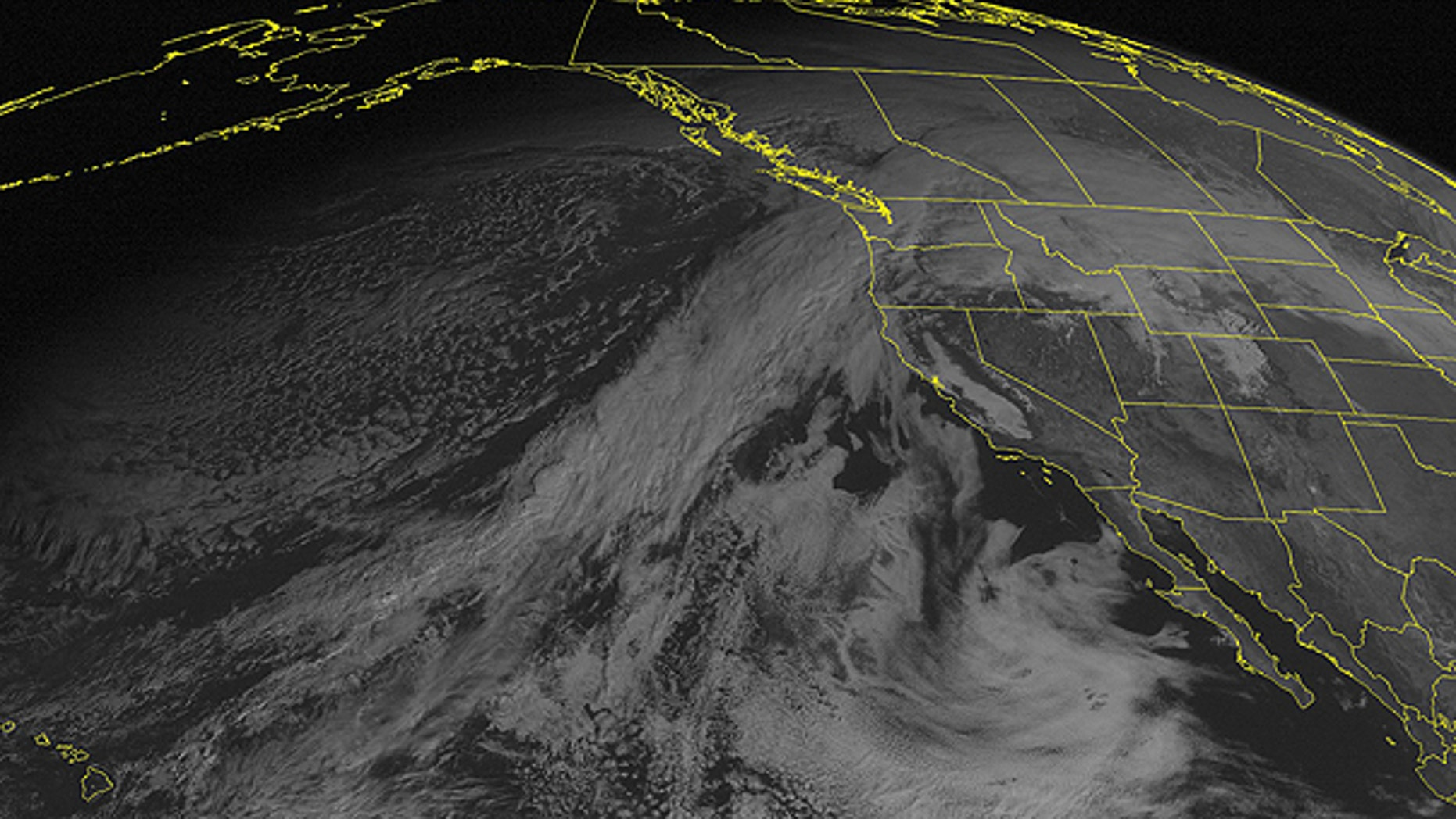 Dec. 12: This NOAA satellite image taken at 01:00 PM EST shows clouds streaming in from the eastern Pacific and spreading across the Northwest.