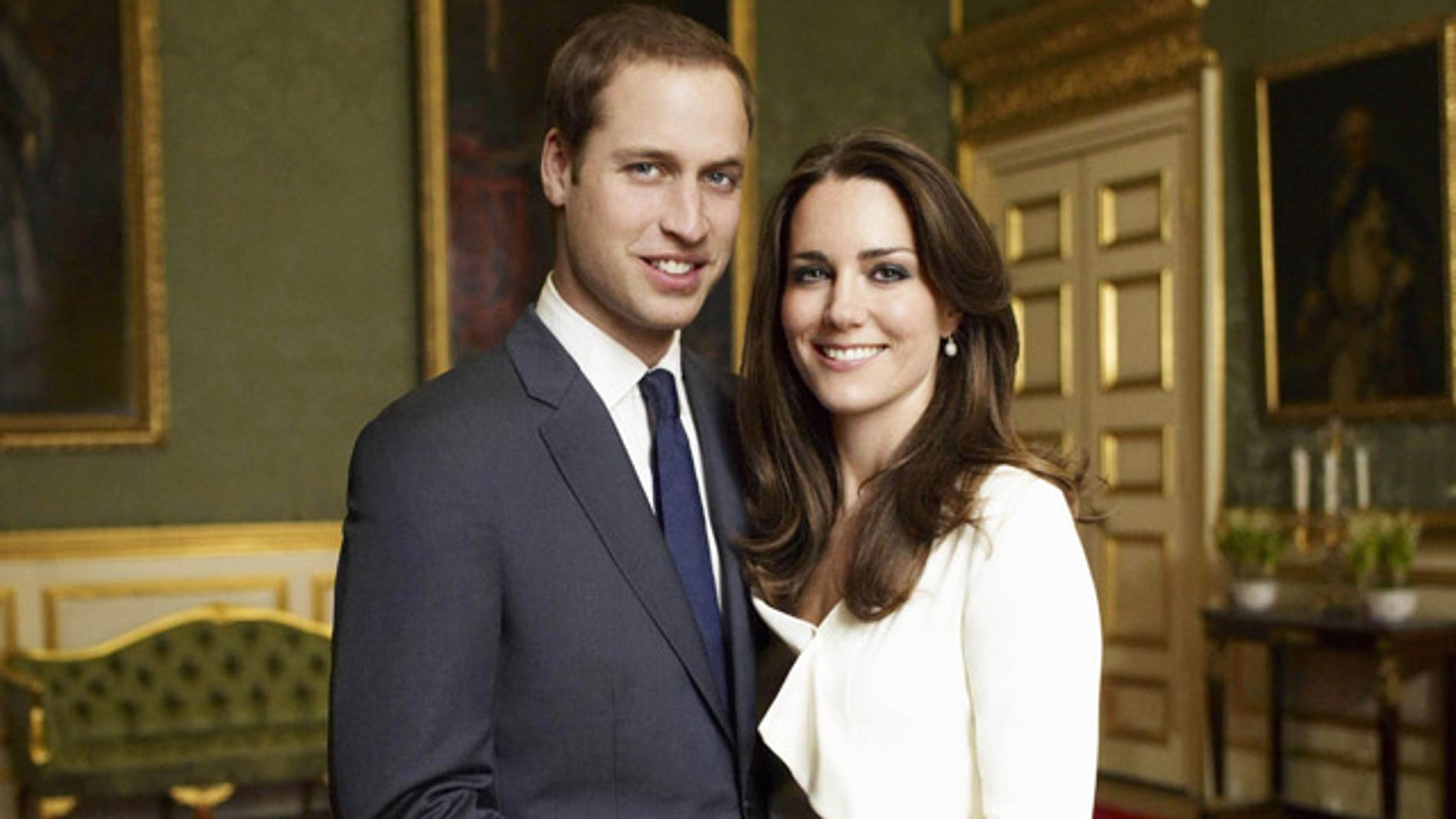This is one of two official portrait photographs taken on Nov. 25, 2010 in the Council Chamber in the State Apartment in St James Palace, London and released by Clarence House Press Office on Sunday Dec. 12, 2010 to mark the engagement of Britain's Prince William and Catherine Middleton.