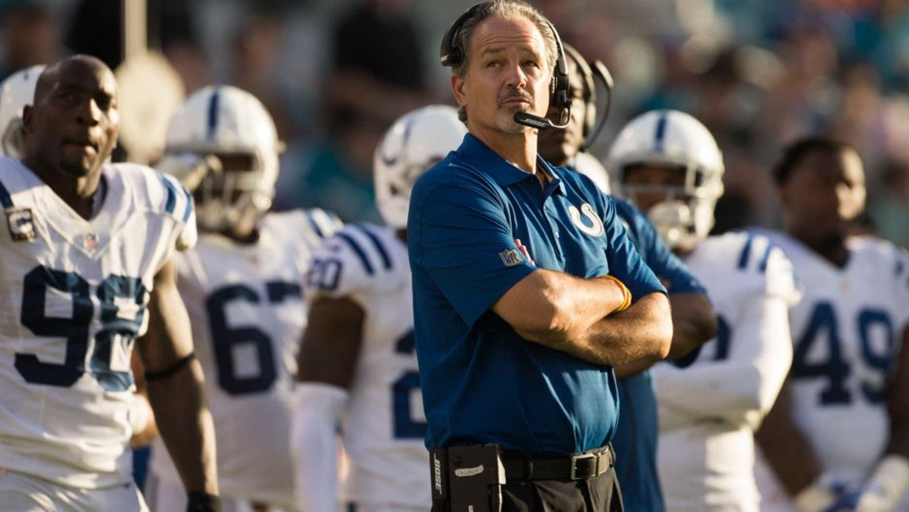 Dec 13, 2015; Jacksonville, FL, USA; Indianapolis Colts head coach Chuck Pagano looks on during the fourth quarter in a game against the Jacksonville Jaguars at EverBank Field. The Jacksonville Jaguars won 51-16. Mandatory Credit: Logan Bowles-USA TODAY Sports