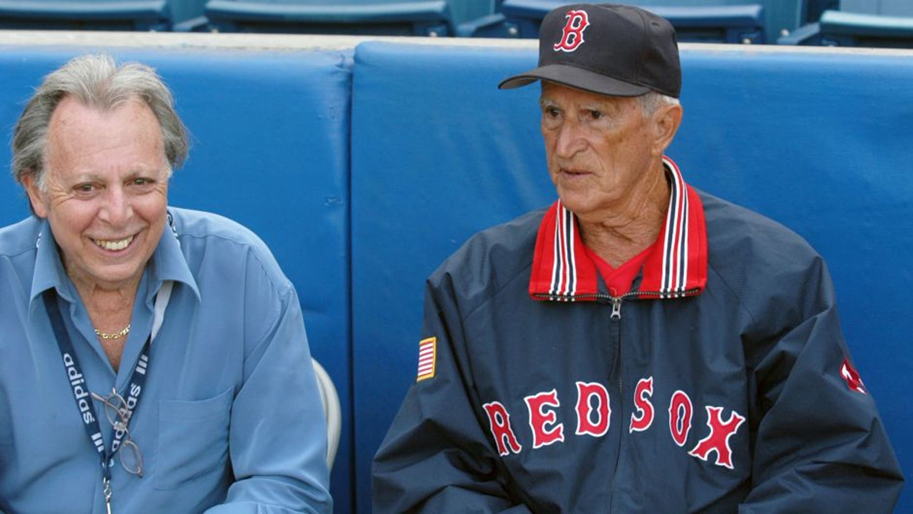 TAMPA, FL - MARCH 24: (L to R) Writer Phil Pepe speaks with former shortstop and coach Johnny Pesky, of the Boston Red Sox, prior to a Spring Training game on March 24, 2004 against the New York Yankees at Legends Field in Tampa, Florida. (Photo by: Diamond Images/Getty Images)