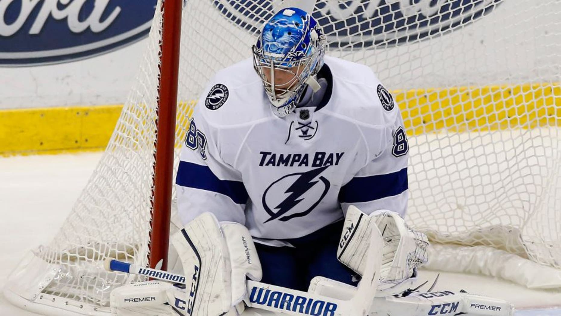 Nov 16, 2015; Sunrise, FL, USA; Tampa Bay Lightning goalie Andrei Vasilevskiy (88) makes a save in the third period of a game against the Florida Panthers at BB&T Center. The Panthers won 1-0. Mandatory Credit: Robert Mayer-USA TODAY Sports