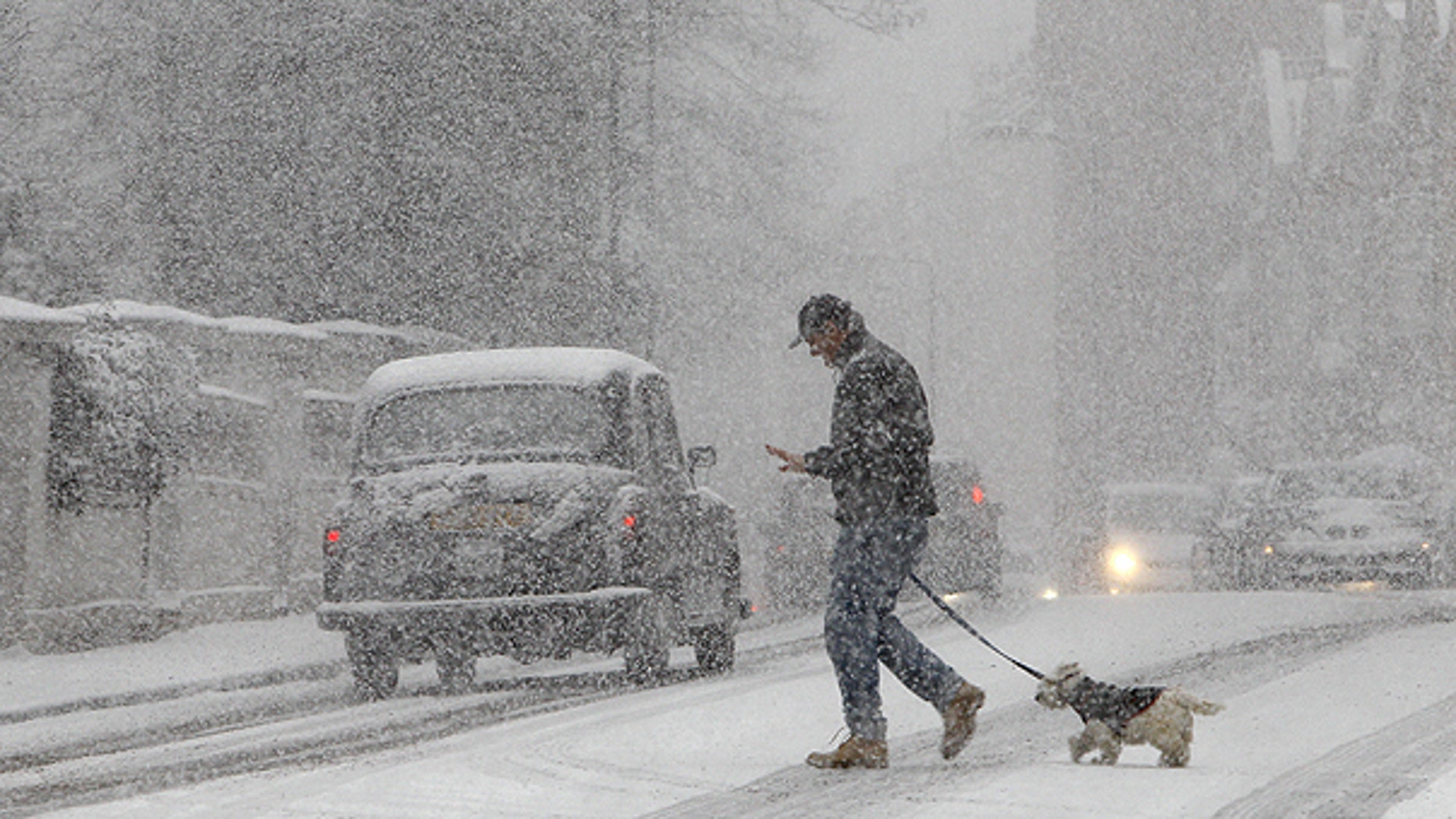 Dec. 18: A pedestrian walks a dog during a snow-fall in central London.