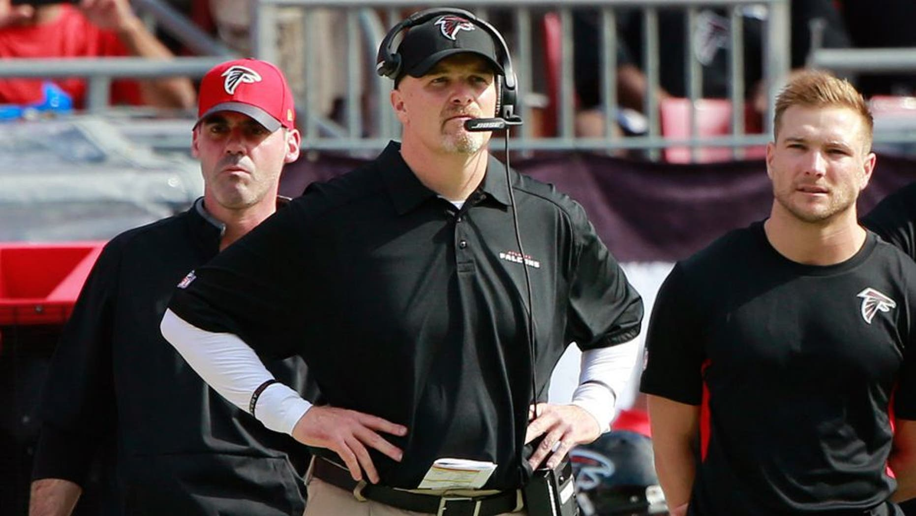 Dec 6, 2015; Tampa, FL, USA; Atlanta Falcons head coach Dan Quinn during the first quarter at Raymond James Stadium. Mandatory Credit: Kim Klement-USA TODAY Sports