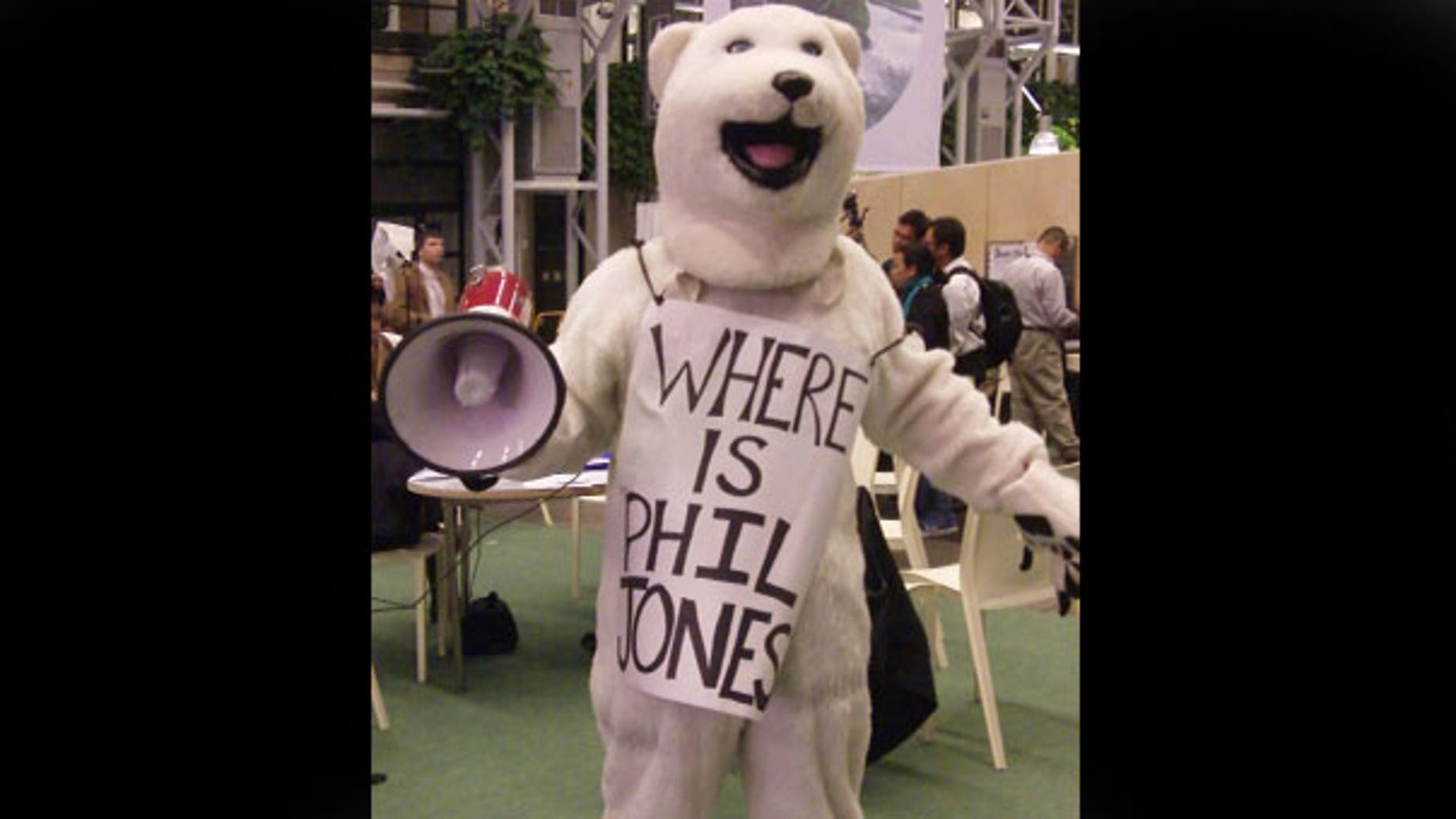 A man in a bear costume at the Copenhagen Climate Summit went hunting for Phil Jones, the scientist at the heart of the Climate-gate scandal.