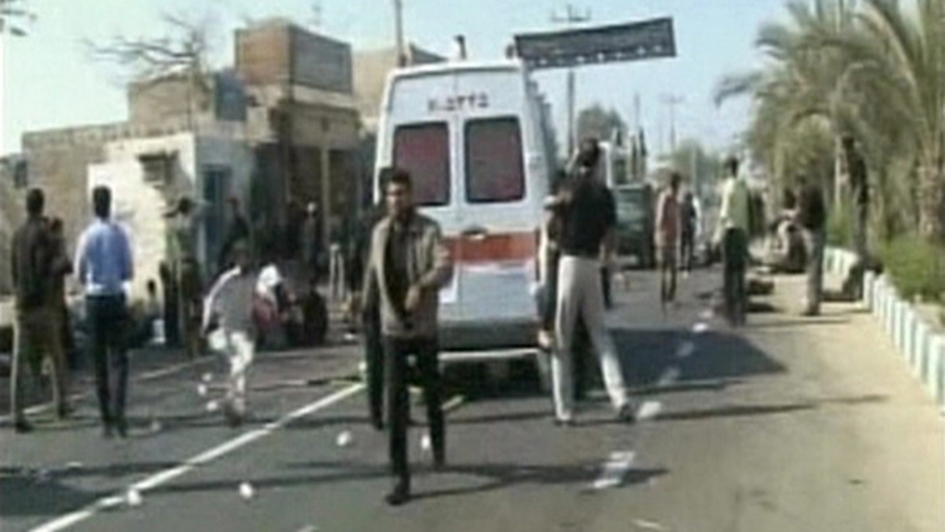 Dec. 15: The aftermath of an explosion outside a mosque in Iran's southeastern city of Chabahr is seen in this still image taken from video.