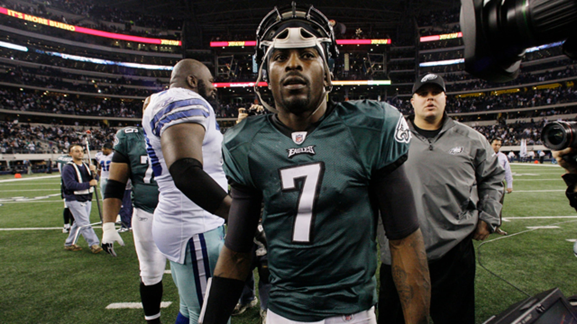 Dec. 15: Philadelphia Eagles quarterback Michael Vick leaves the field after his team beat the Dallas Cowboys 30-27 in an NFL football game in Arlington, Texas.