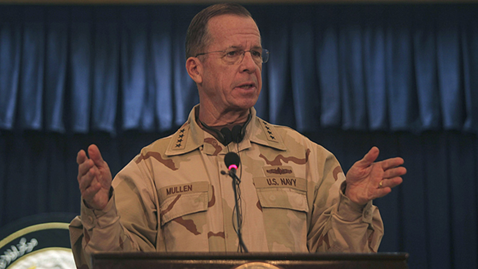 Dec. 17: Adm. Mike Mullen of the U.S., chairman of the Joint Chiefs of Staff, during a press conference with U.S. ambassador to Afghanistan, Karl Eikenberry, not in photo, in Kabul, Afghanistan.