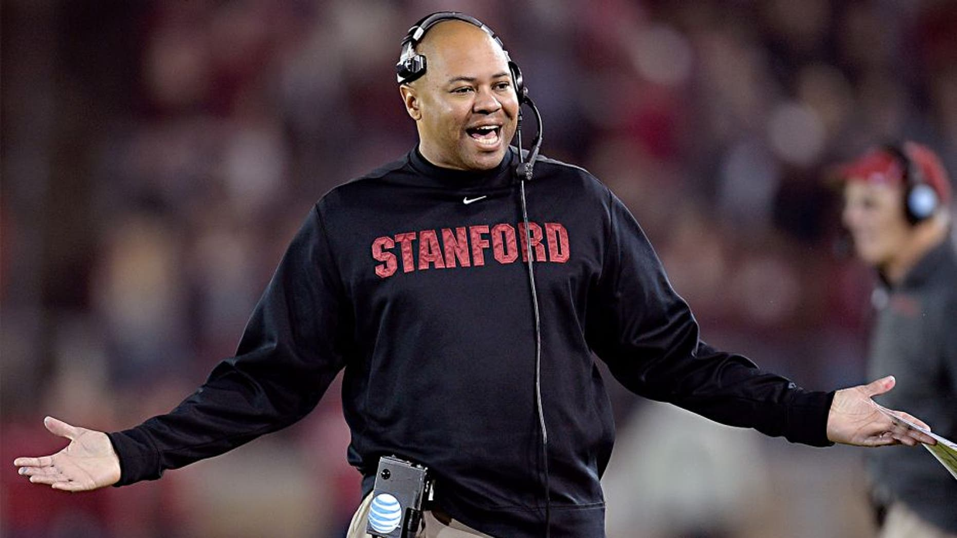 PALO ALTO, CA - NOVEMBER 30: Head Coach David Shaw of the Stanford Cardinal reacts to an official's personal foul call against his team for the Notre Dame Fighting Irish during the third quarter at Stanford Stadium on November 30, 2013 in Palo Alto, California. The call was reversed and no penalty was assessed to Stanford. (Photo by Thearon W. Henderson/Getty Images)