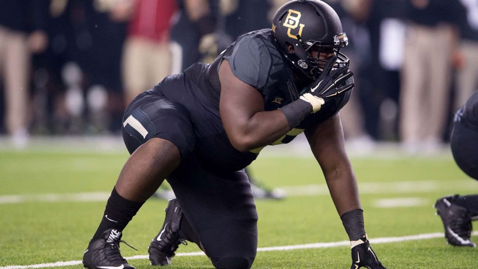 Nov 14, 2015; Waco, TX, USA; Baylor Bears defensive tackle Andrew Billings (75) during the game against the Oklahoma Sooners at McLane Stadium. The Sooners defeat the Bears 44-34. Mandatory Credit: Jerome Miron-USA TODAY Sports