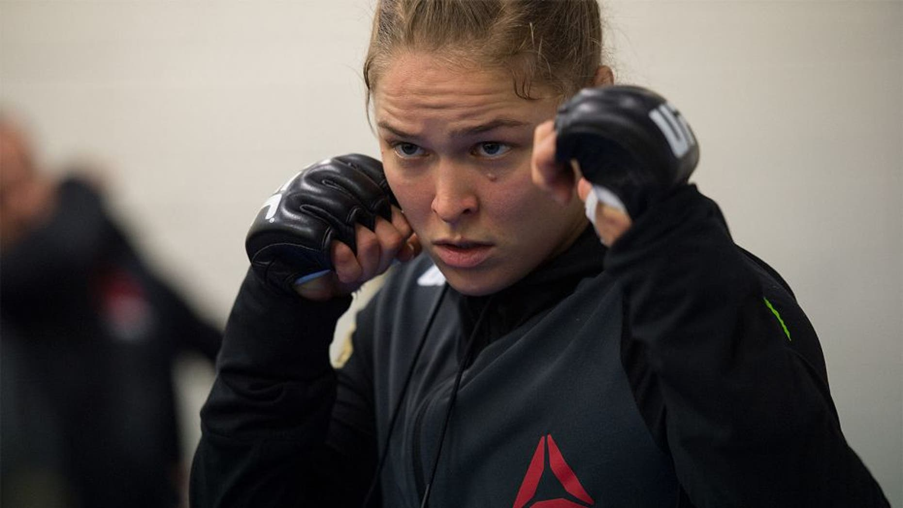 MELBOURNE, AUSTRALIA - NOVEMBER 15: UFC women's bantamweight champion Ronda Rousey of the United States warms up before facing Holly Holm of the United States during the UFC 193 event at Etihad Stadium on November 15, 2015 in Melbourne, Australia. (Photo by Brandon Magnus/Zuffa LLC/Zuffa LLC via Getty Images)