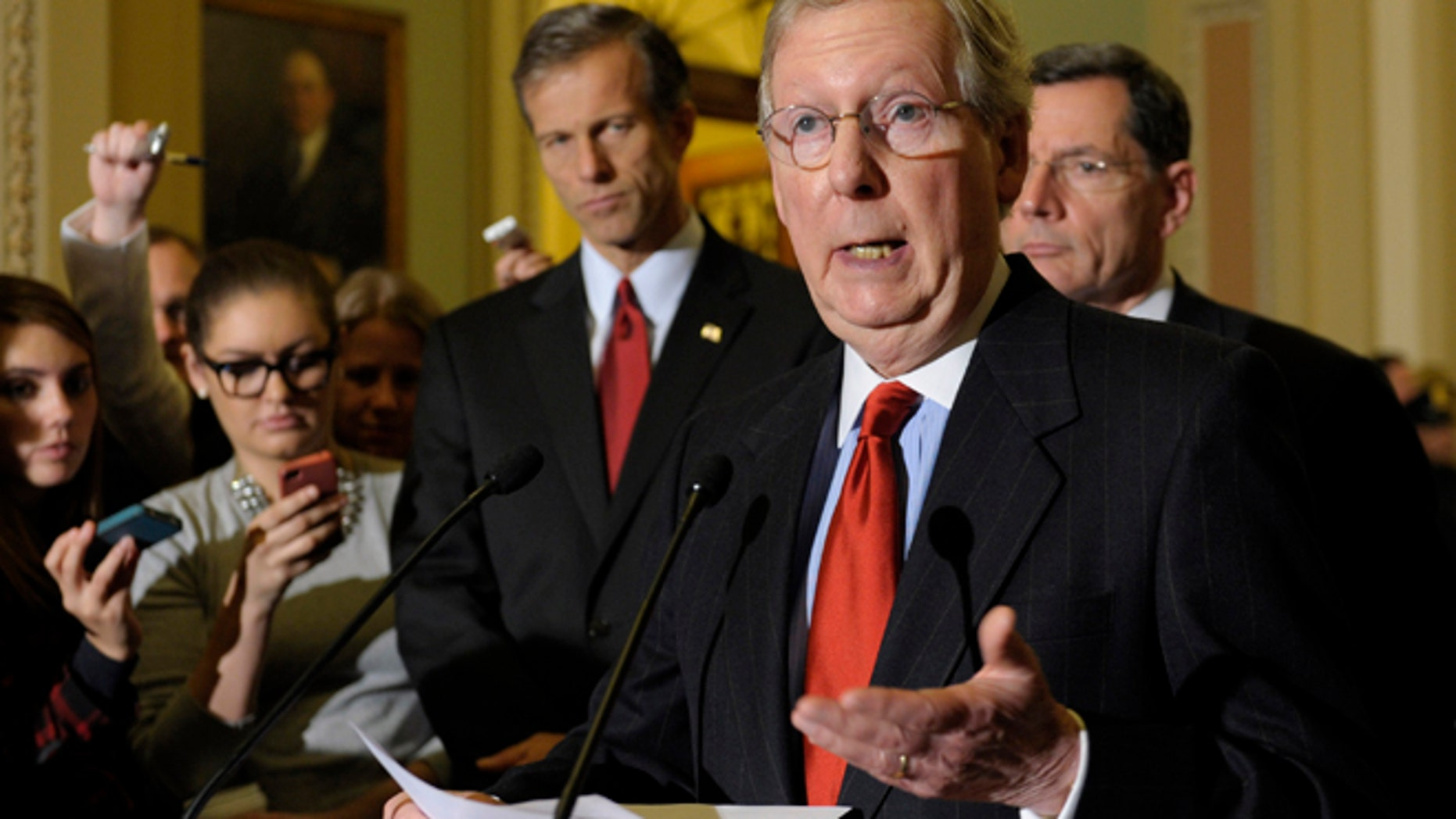 FILE: Dec. 18, 2012: Senate Minority Leader Mitch McConnell, R-Ky., on Capitol Hill, in Washington, D.C.