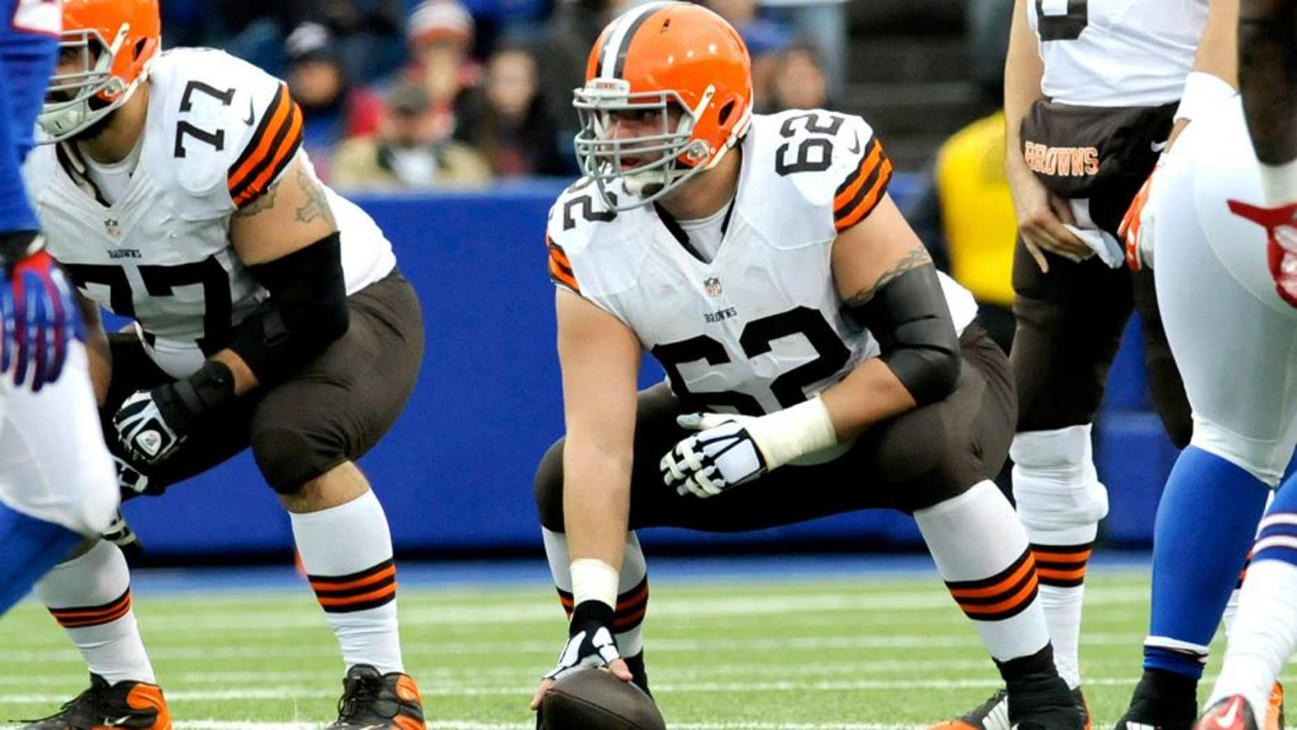 ORCHARD PARK, NY - NOVEMBER 30, 2014: Center Ryan Seymour #62 of the Cleveland Browns lines up at the line of scrimmage during a game against the Buffalo Bills on November 30, 2014 at Ralph Wilson Stadium in Orchard Park, New York. Buffalo won 26-10. (Photo by: Nick Cammett/Diamond Images/Getty Images)