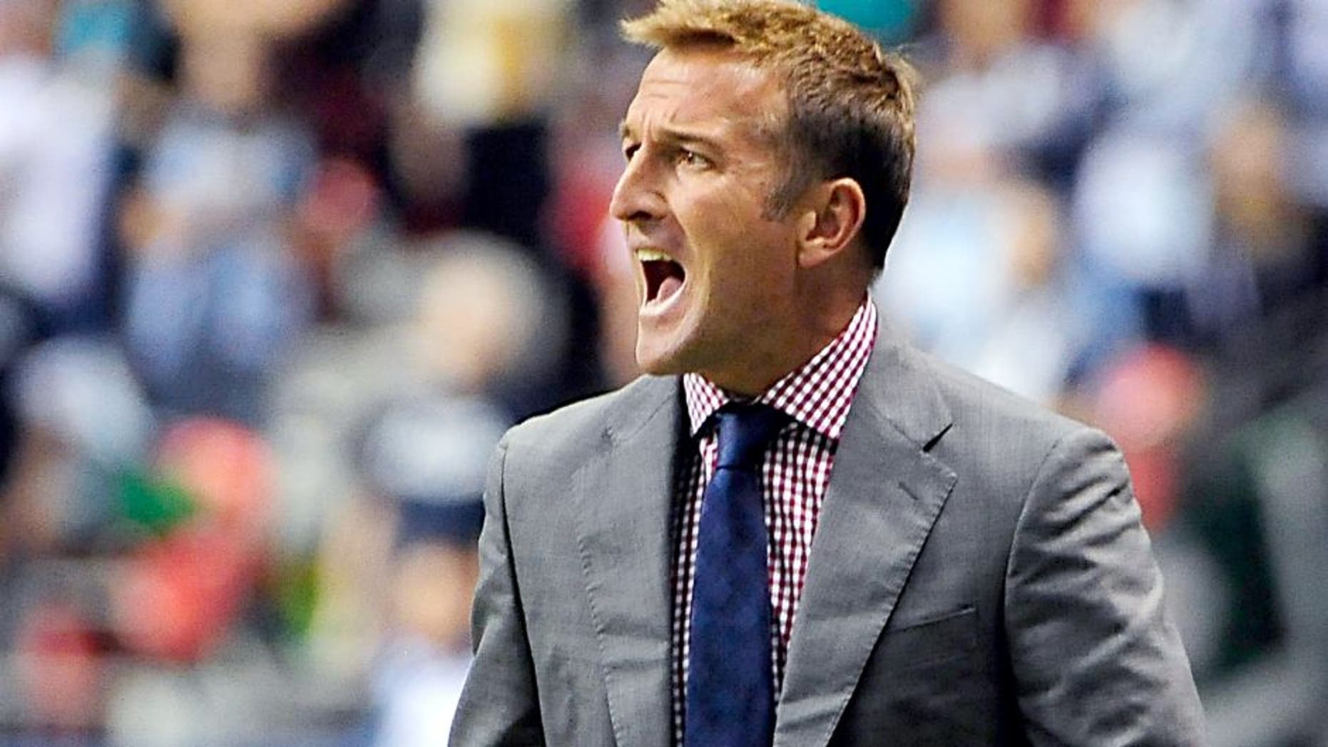 Sep 28, 2013; Vancouver, British Columbia, CAN; Real Salt Lake head coach Jason Kreis during the second half against the Vancouver Whitecaps at BC Place. The Real Salt Lake won 1-0. Mandatory Credit: Anne-Marie Sorvin-USA TODAY Sports