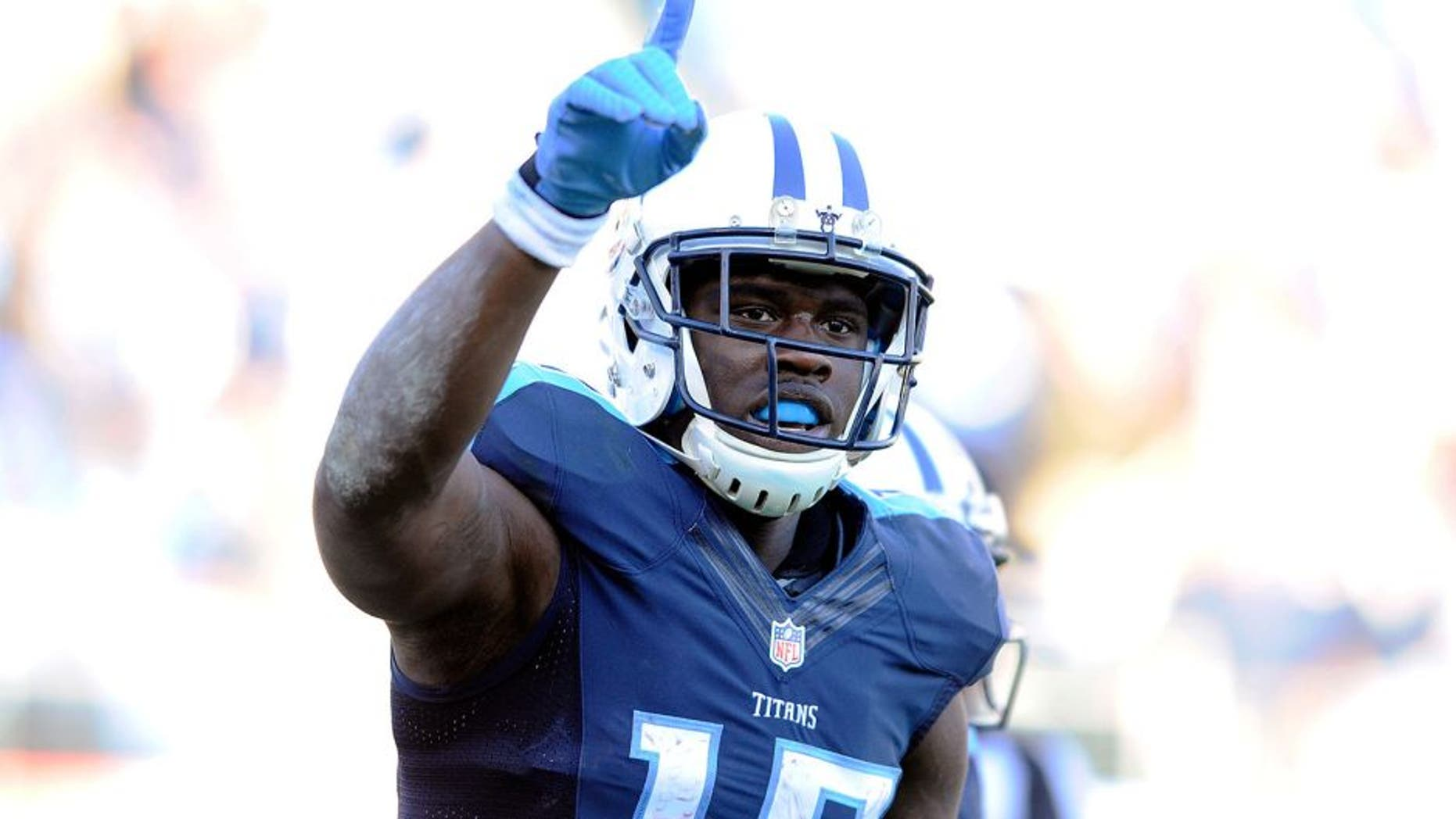 Dec 6, 2015; Nashville, TN, USA; Tennessee Titans receiver Dorial Green-Beckham (17) celebrates after scoring a touchdown after a reception during the second half against the Jacksonville Jaguars at Nissan Stadium. The Titans won 42-39. Mandatory Credit: Christopher Hanewinckel-USA TODAY Sports