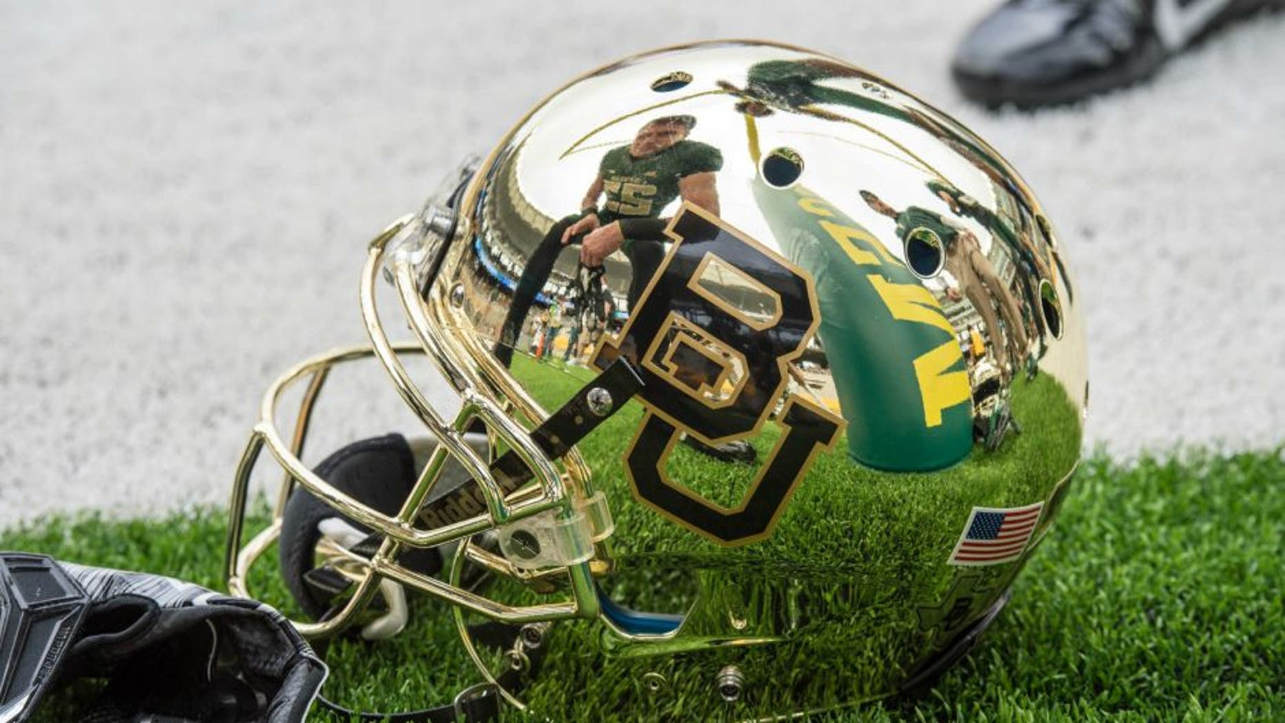 Oct 11, 2014; Waco, TX, USA; A view of the helmet of Baylor Bears running back Clay Fuller (23) before the game against the TCU Horned Frogs at McLane Stadium. The Bears defeat Horned Frogs 61-58. Mandatory Credit: Jerome Miron-USA TODAY Sports