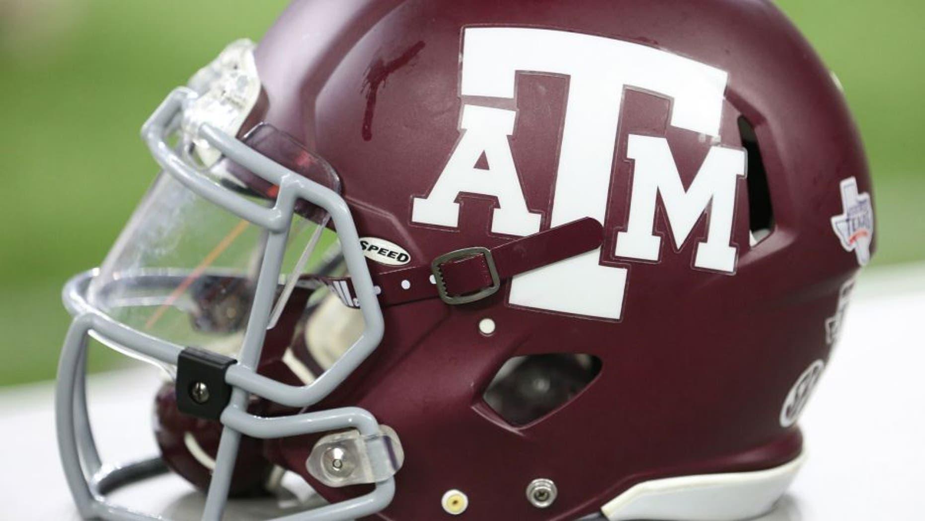 Sep 5, 2015; Houston, TX, USA; A view of a Texas A&M Aggies helmet at NRG Stadium. Aggies won 38 to 17. Mandatory Credit: Thomas B. Shea-USA TODAY Sports
