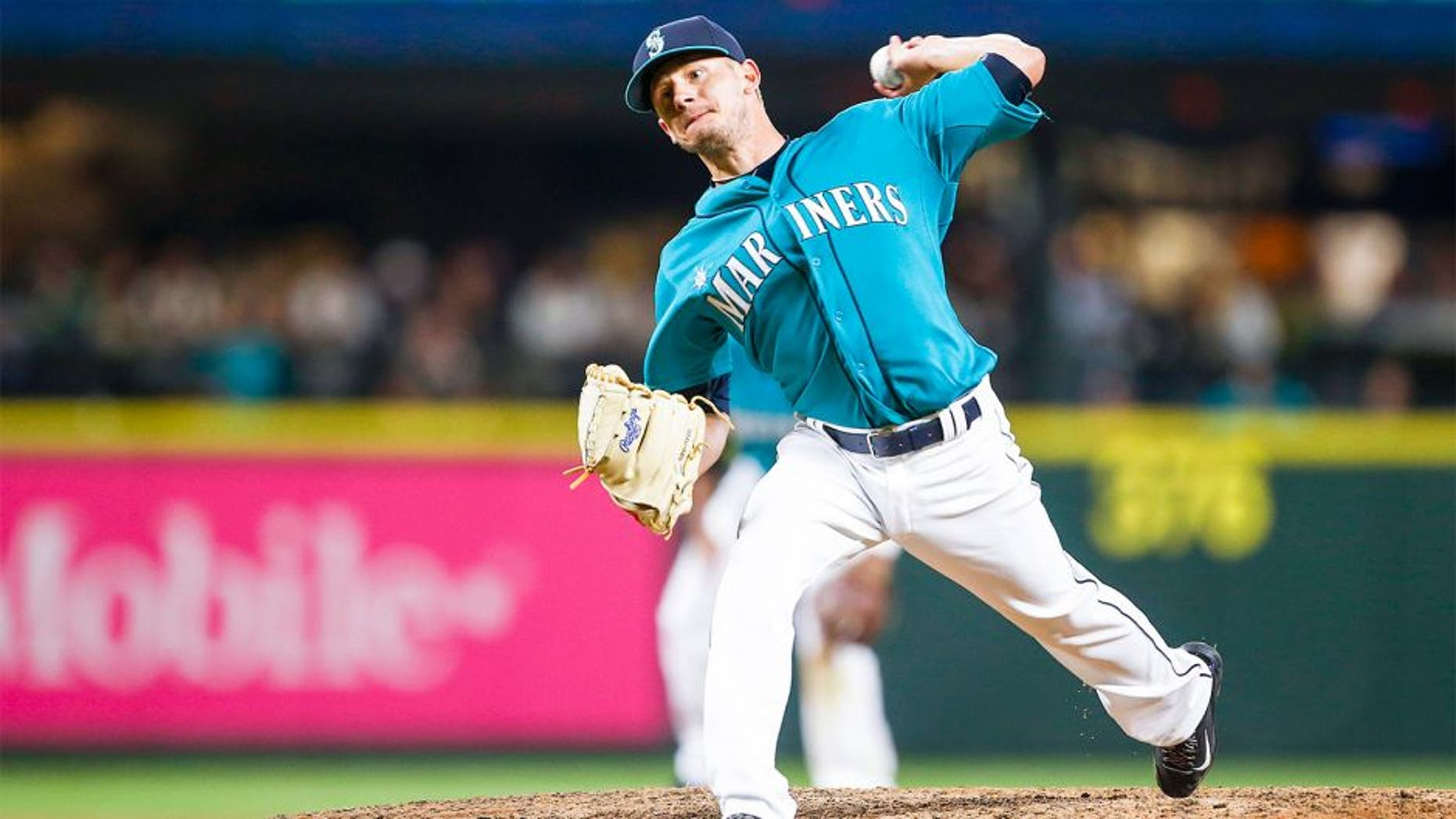 Aug 21, 2015; Seattle, WA, USA; Seattle Mariners pitcher Rob Rasmussen (50) throws the ball against the Chicago White Sox during the eighth inning at Safeco Field. Mandatory Credit: Joe Nicholson-USA TODAY Sports