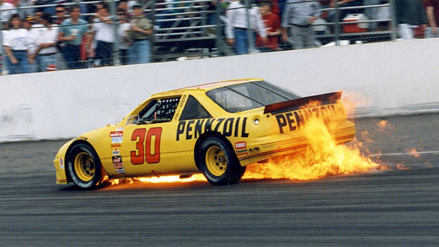 RICHMOND, VA ? March 8, 1992: Michael Waltrip?s Pontiac provides a bit of ?excitement? of its own as he exits in spectacular fashion during the Pontiac Excitement 400 NASCAR Cup race at Richmond International Raceway. The engine blew in Waltrip?s Pennzoil Pontiac on lap 259. (Photo by ISC Images & Archives via Getty Images)