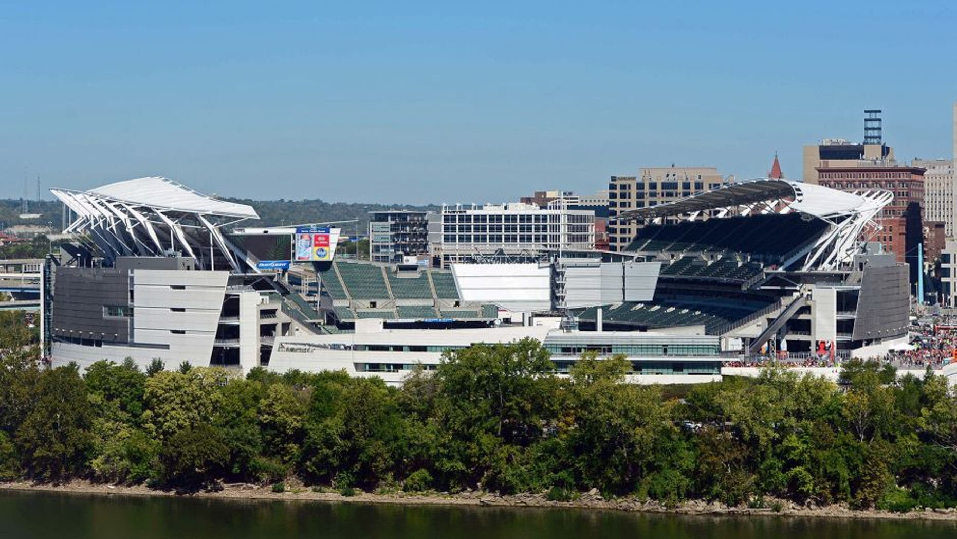 Sep 16, 2012; Cincinnati, OH, USA; Exterior view of Paul Brown Stadium prior to an NFL game between the Cleveland Browns at Cincinnati Bengals. Mandatory Credit: Andrew Weber-US Presswire