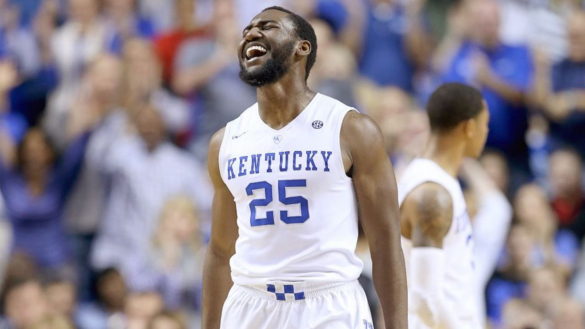 LEXINGTON, KY - DECEMBER 26: Dominique Hawkins #25 of the Kentucky Wildcats celebrates against the Louisville Cardinals at Rupp Arena on December 26, 2015 in Lexington, Kentucky. (Photo by Andy Lyons/Getty Images)