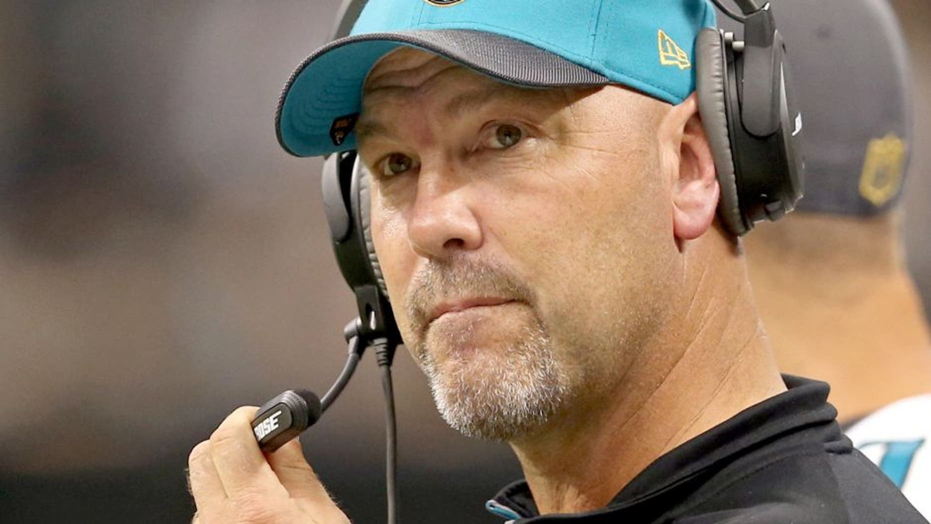 Dec 27, 2015; New Orleans, LA, USA; Jacksonville Jaguars head coach Gus Bradley looks on from the sidelines against the New Orleans Saints in the second quarter at the Mercedes-Benz Superdome. Mandatory Credit: Chuck Cook-USA TODAY Sports