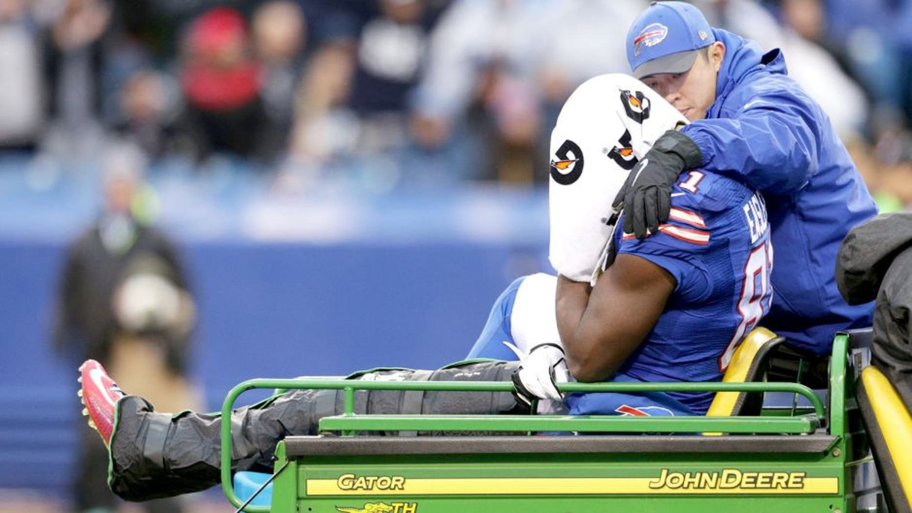 ORCHARD PARK, NY - DECEMBER 27: Marcus Easley #81 of the Buffalo Bills gets carted off the field during the first half against the Dallas Cowboys at Ralph Wilson Stadium on December 27, 2015 in Orchard Park, New York. (Photo by Brett Carlsen/Getty Images)