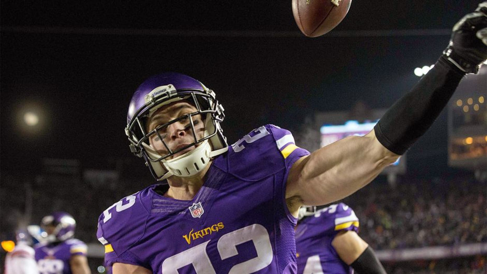 Dec 27, 2015; Minneapolis, MN, USA; Minnesota Vikings safety Harrison Smith (22) celebrates his interception for a touchdown during the second quarter against the New York Giants at TCF Bank Stadium. Mandatory Credit: Brace Hemmelgarn-USA TODAY Sports