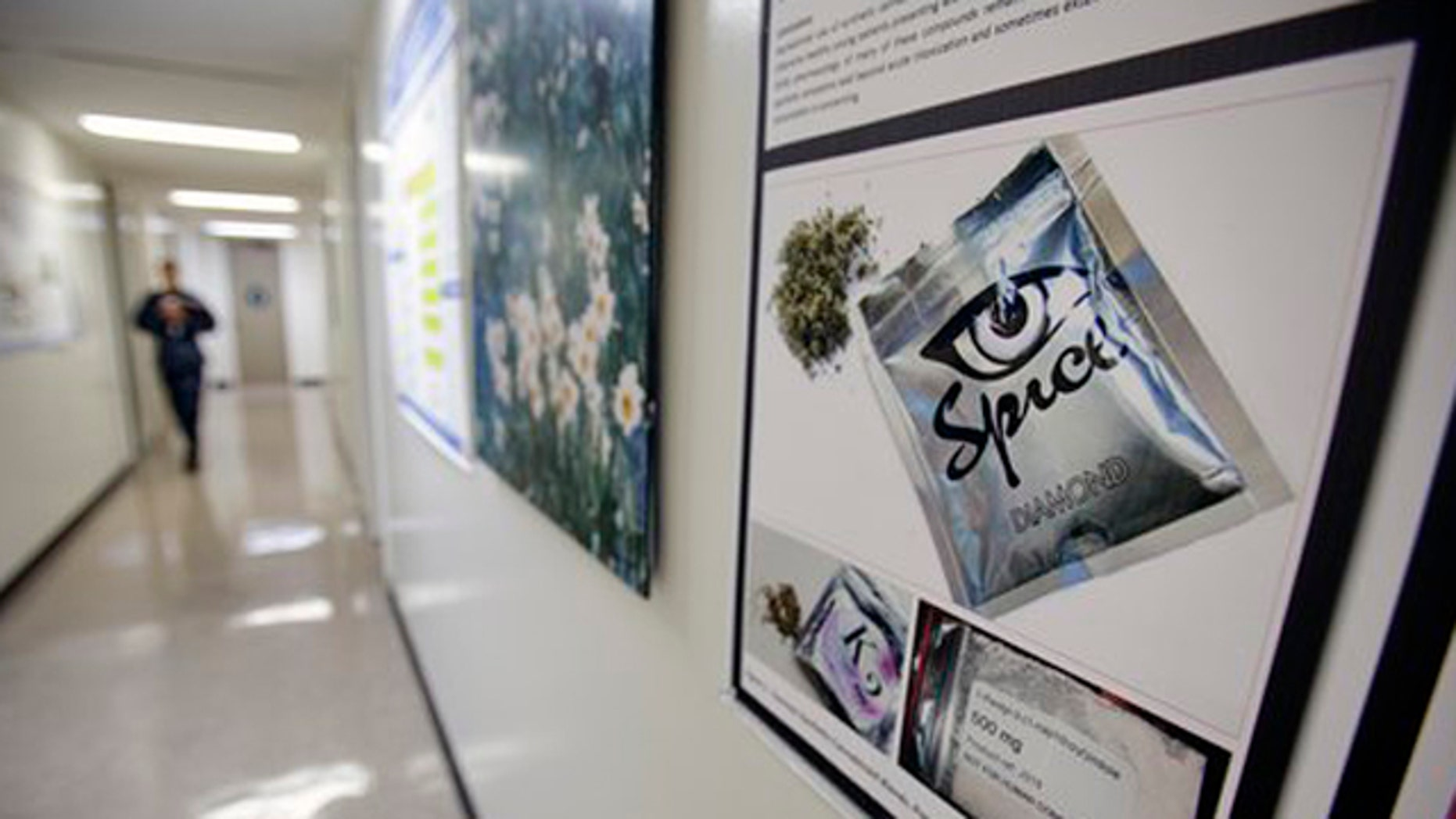 December 6, 2011: A poster warning of the effects of the drug known as 'spice' hangs on a wall at the Naval Hospital, in San Diego.