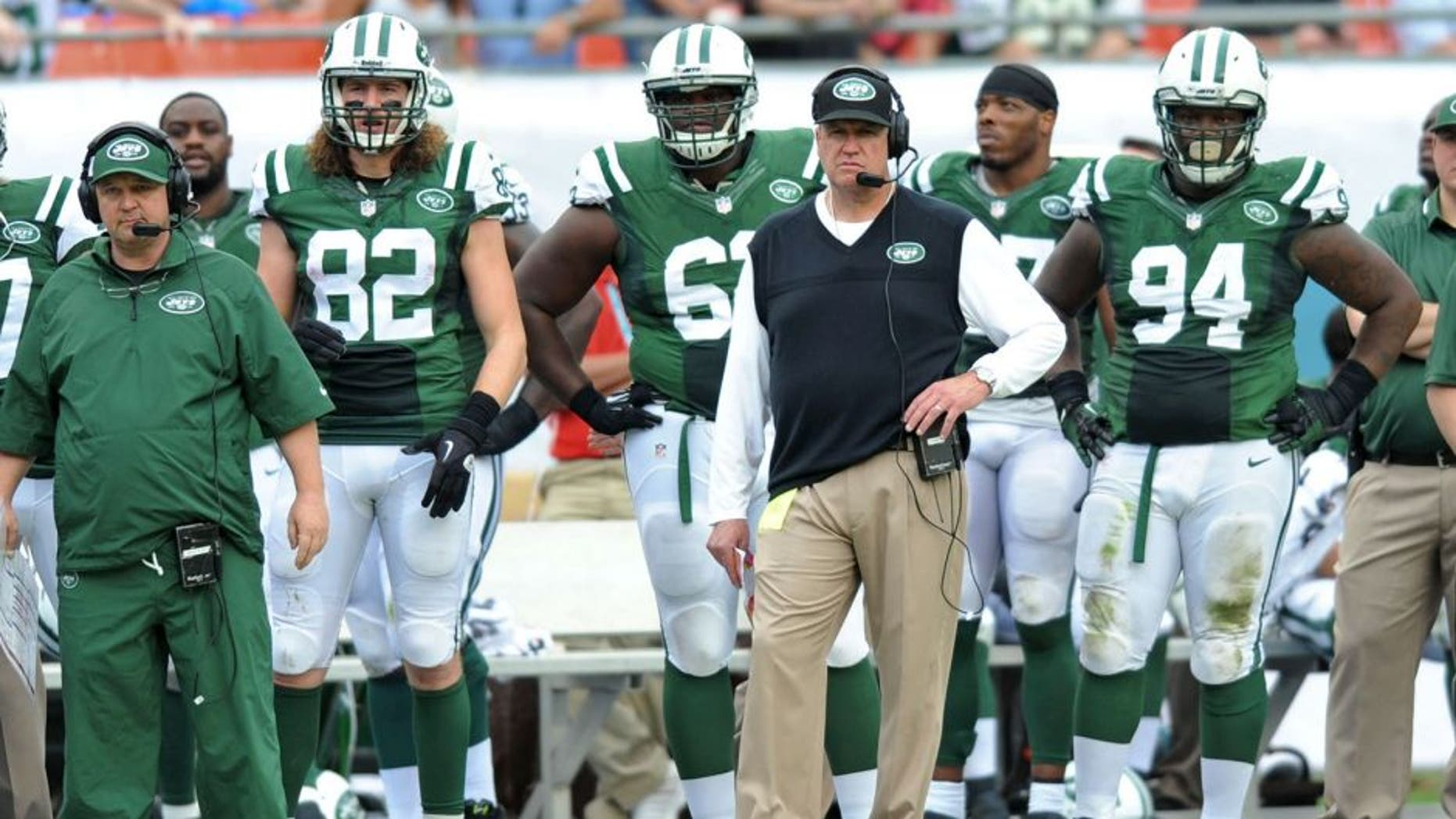 Dec 29, 2013; Miami Gardens, FL, USA; New York Jets head coach Rex Ryan looks on from the sideline during the first half against the Miami Dolphins at Sun Life Stadium. Mandatory Credit: Steve Mitchell-USA TODAY Sports