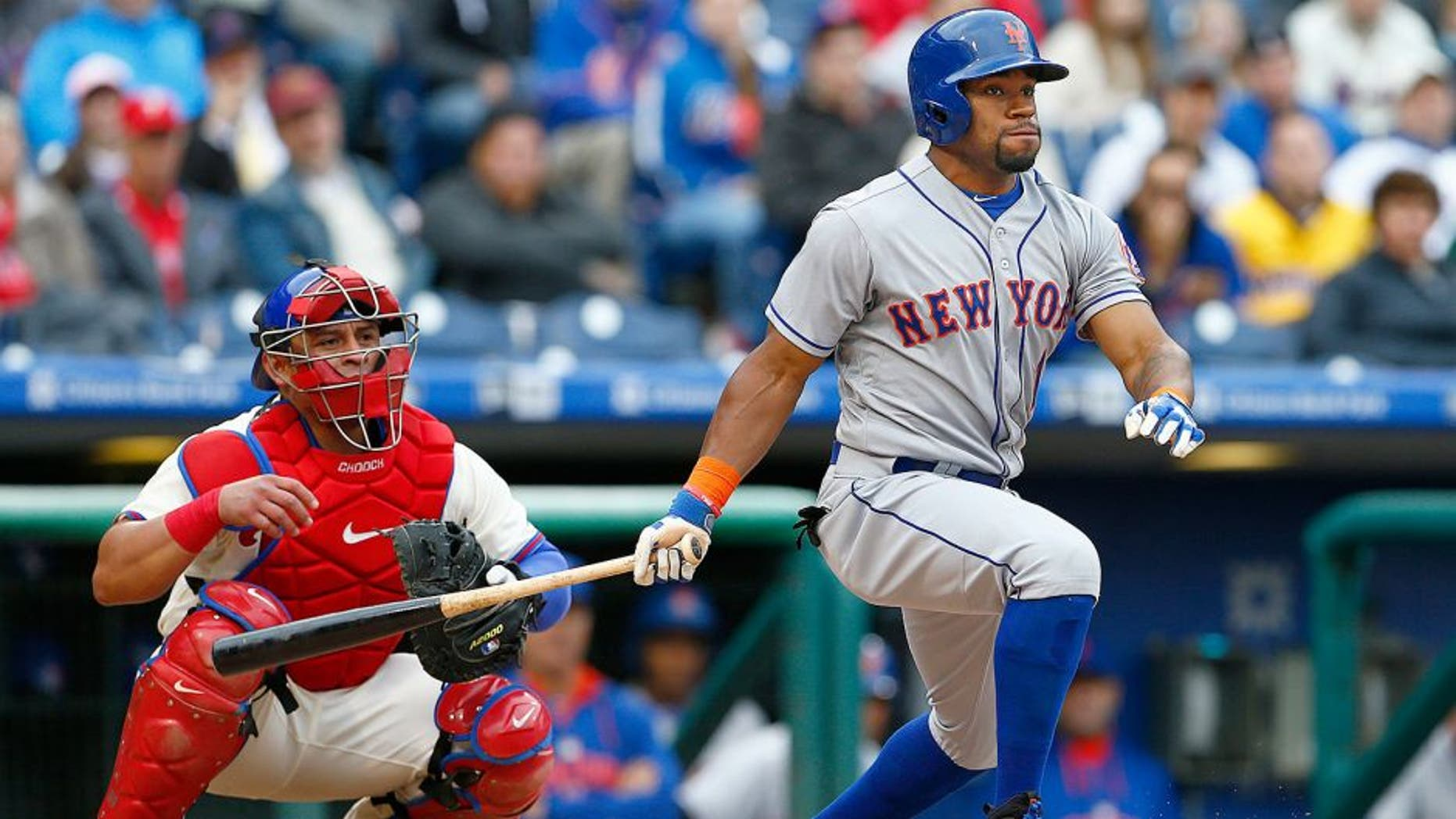 PHILADELPHIA, PA - October 1: Eric Young Jr. #1 of the New York Mets in action during an MLB game against the Philadelphia Phillies at Citizens Bank Park on October 1, 2015 in Philadelphia, Pennsylvania. The Phillies defeated the Mets 3-0. (Photo by Rich Schultz/Getty Images)