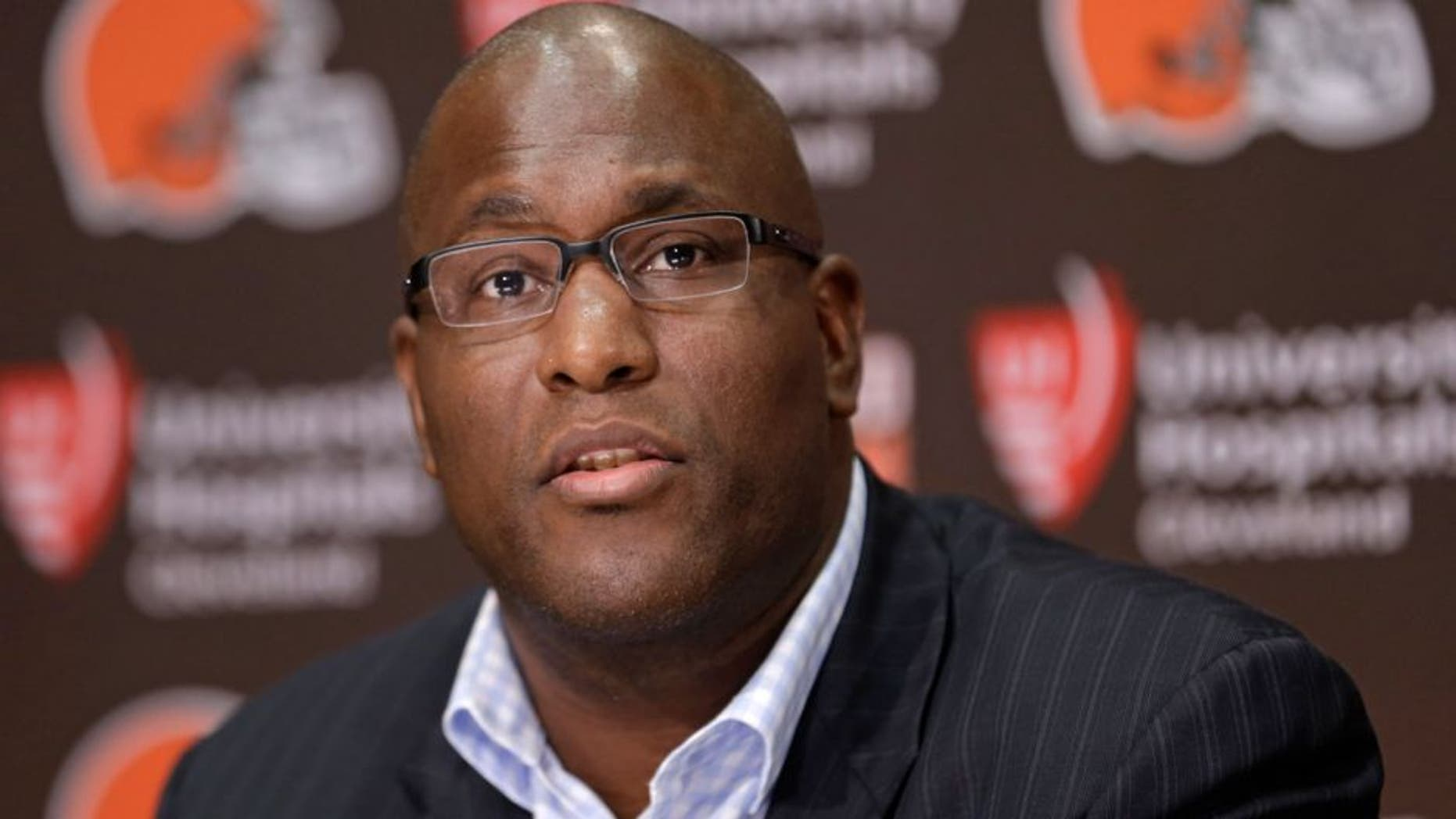 Cleveland Browns general manager Ray Farmer answers questions about the Browns' season during an NFL football news conference, Tuesday, Dec. 30, 2014, in Berea, Ohio. (AP Photo/Tony Dejak)