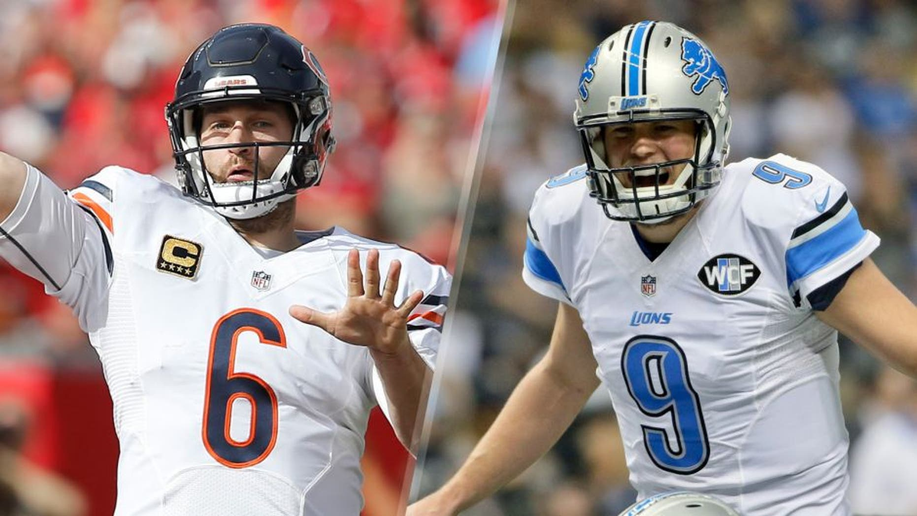 Dec 27, 2015; Tampa, FL, USA; Chicago Bears quarterback Jay Cutler (6) throws a pass during the first quarter of a football game against the Tampa Bay Buccaneers at Raymond James Stadium. Mandatory Credit: Reinhold Matay-USA TODAY Sports Dec 21, 2015; New Orleans, LA, USA; Detroit Lions quarterback Matthew Stafford (9) against the New Orleans Saints during the first quarter a game at the Mercedes-Benz Superdome. Mandatory Credit: Derick E. Hingle-USA TODAY Sports