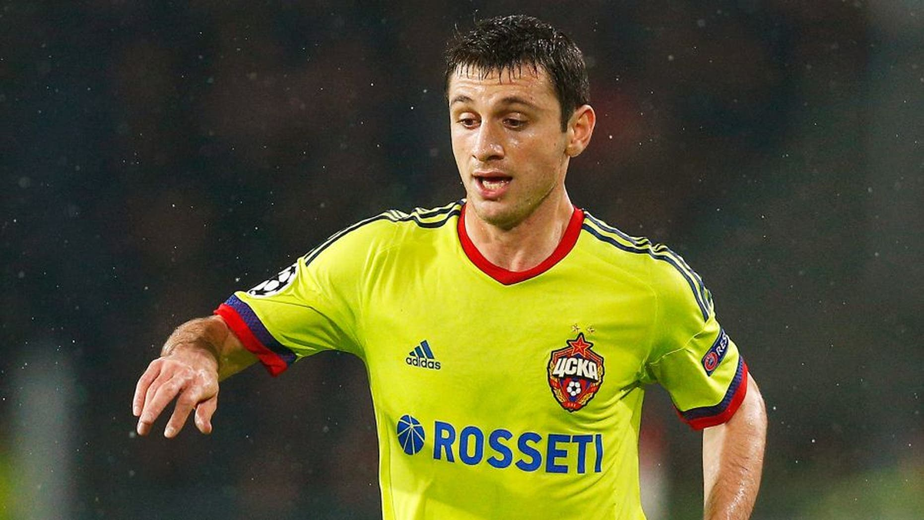 EINDHOVEN, NETHERLANDS - DECEMBER 08: Alan Dzagoev of CSKA in action during the group B UEFA Champions League match between PSV Eindhoven and CSKA Moscow held at Philips Stadium, on December 8, 2015 in Eindhoven, Netherlands. (Photo by Dean Mouhtaropoulos/Getty Images)