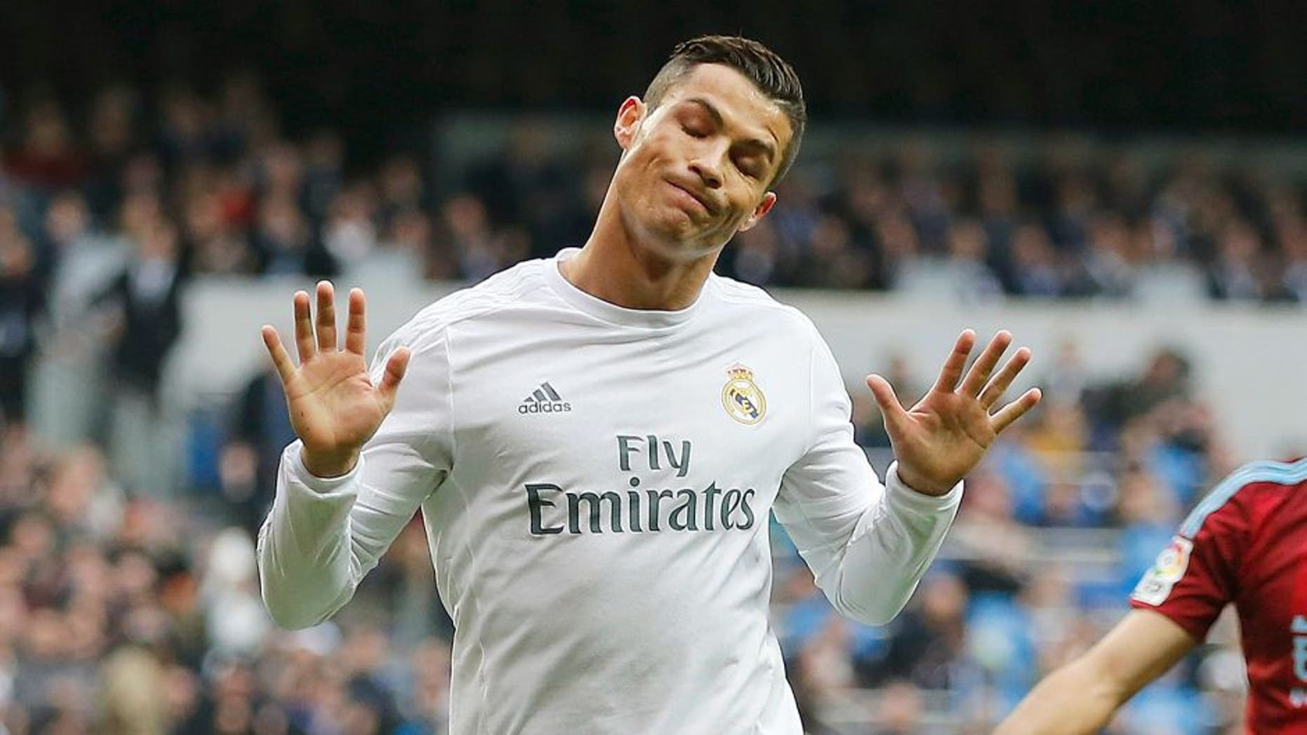 MADRID, SPAIN - DECEMBER 30: Cristiano Ronaldo of Real Madrid celebrates after scoring the opening goal during the La Liga match between Real Madrid CF and Real Sociedad at Estadio Santiago Bernabeu on December 30, 2015 in Madrid, Spain. (Photo by Angel Martinez/Real Madrid via Getty Images)