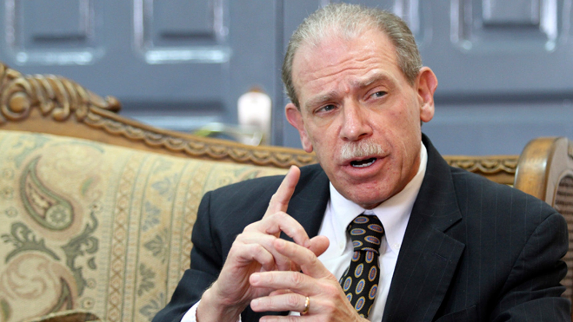 U.S. Ambassador in Sanaa Gerald Feierstein speaks during his meeting with Yemen's Minister of Planning and International Cooperation Mohammed Saeed al-Saidi in Sanaa May 2, 2012.