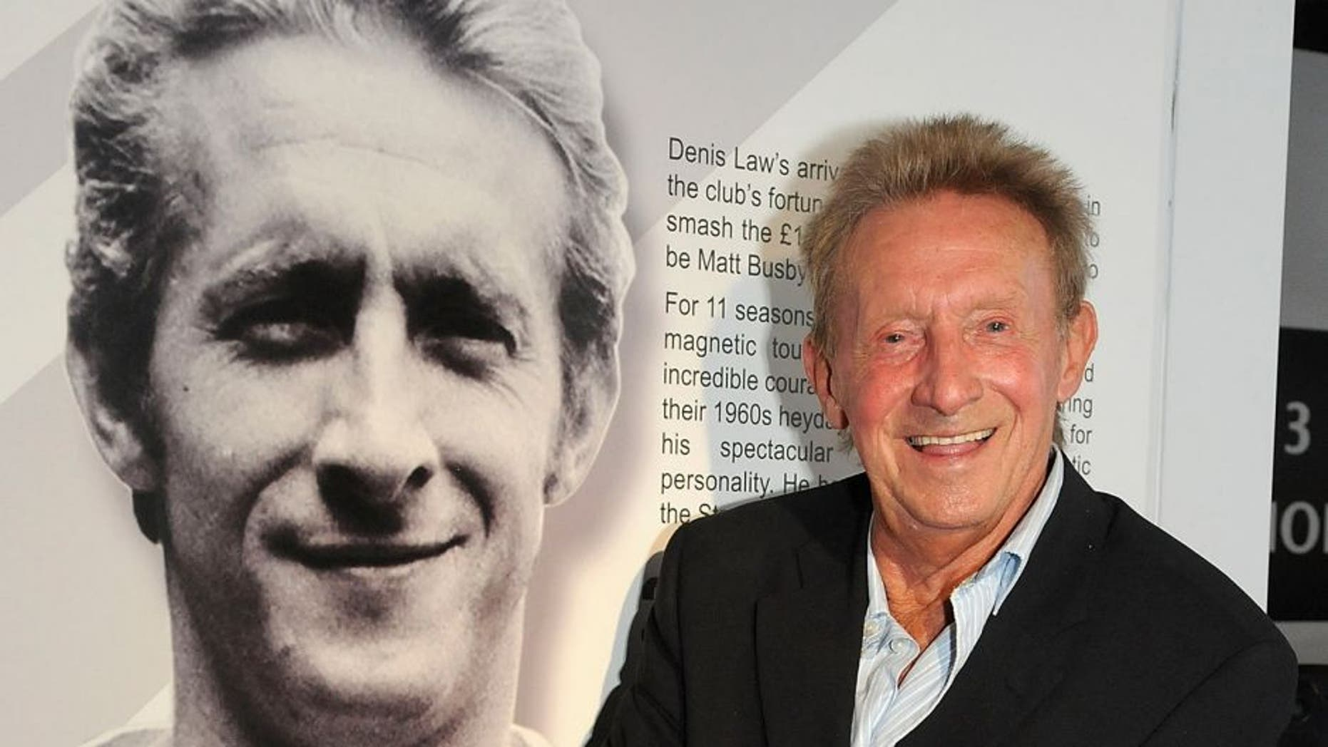 MANCHESTER, ENGLAND - JULY 05: Manchester United legend Denis Law opens an exhibition to mark the 50th anniversary of him signing for Manchester United at the club museum at Old Trafford on July 5, 2012 in Manchester, England. (Photo by Ian Cartwright/Man Utd via Getty Images)
