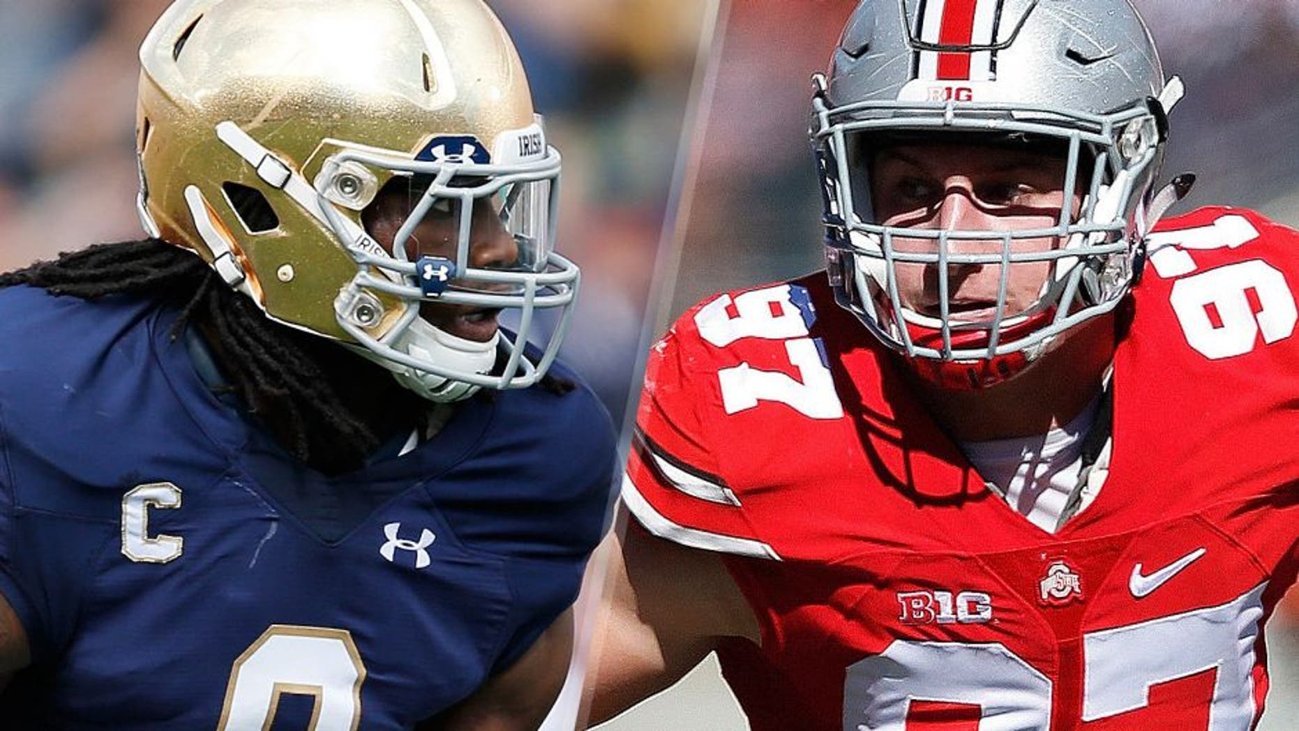 Jaylon Smith #9 of the Notre Dame Fighting Irish in action against the Georgia Tech Yellow Jackets during the game at Notre Dame Stadium on September 19, 2015 in South Bend, Indiana. Notre Dame defeated Georgia Tech 30-22. (Photo by Joe Robbins/Getty Images) Joey Bosa #97 of the Ohio State Buckeyes in action against the Maryland Terrapins during a game at Ohio Stadium on October 10, 2015 in Columbus, Ohio. The Buckeyes defeated the Terrapins 49-28. (Photo by Joe Robbins/Getty Images)