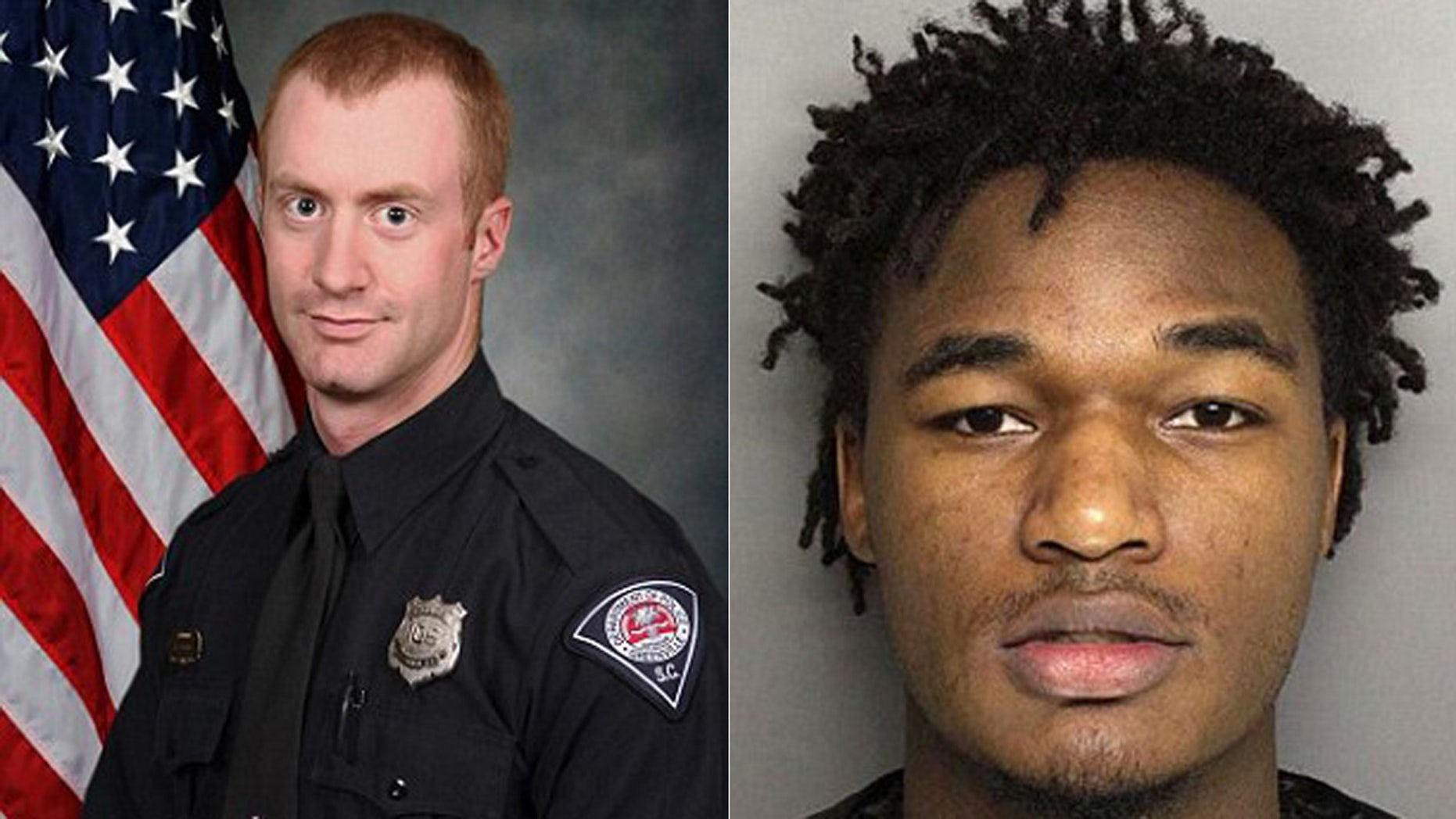 Greenville Police Officer Allen Jacobs, left; Deontea Perry Mackey, right, is the suspect Jacobs was pursuing.