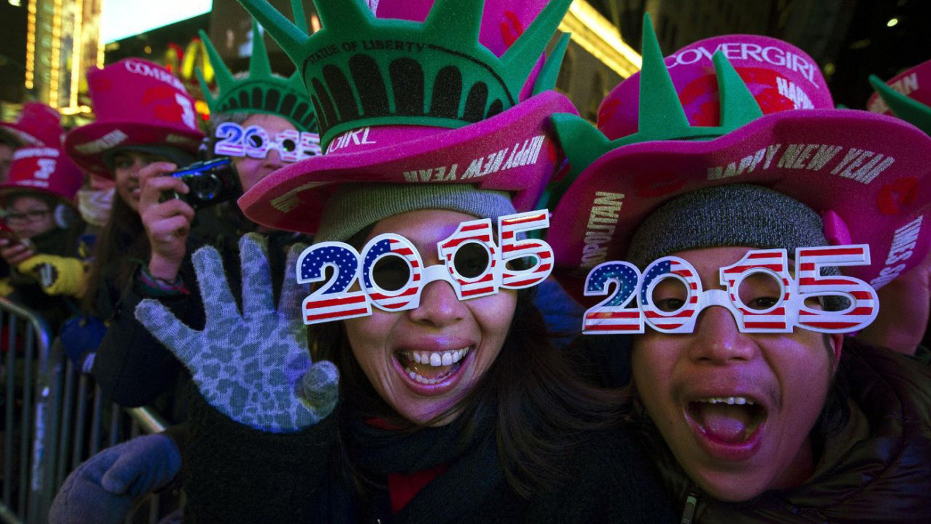 FILE -- December 31, 2014: Revelers in Times Square on New Year's Eve. (AP)