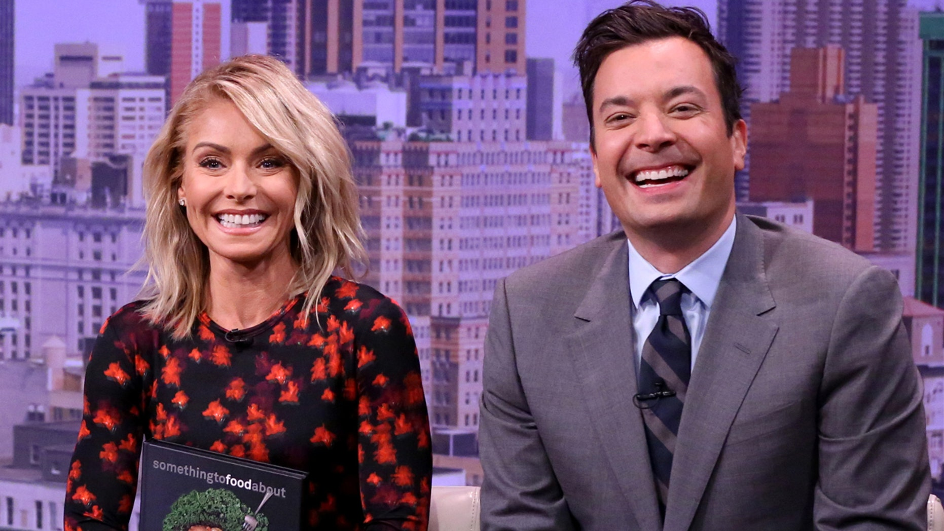 """Pictured (l-r): Kelly Ripa and Jimmy Fallon during the """"Live with Kelly Audition"""" sketch on September, 21 2016."""