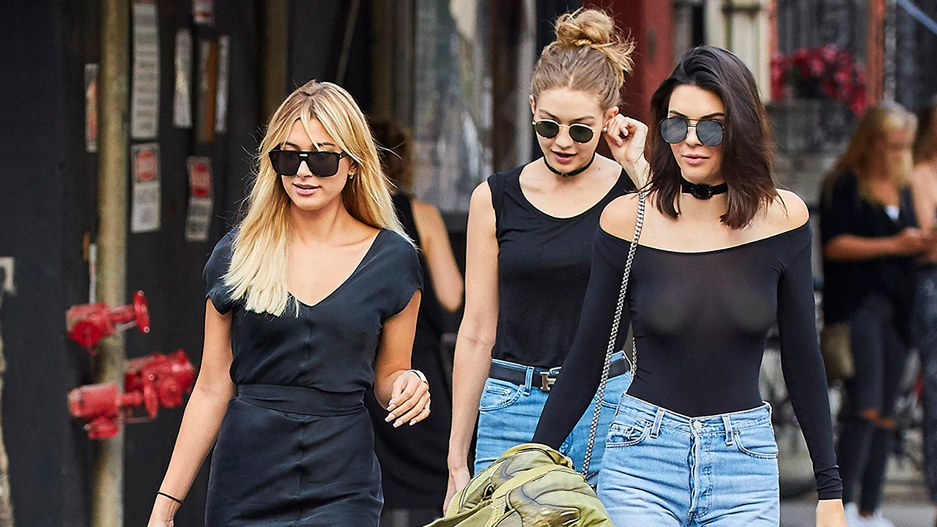 Hailey Baldwin (left), Gigi Hadid (center) and Kendall Jenner.