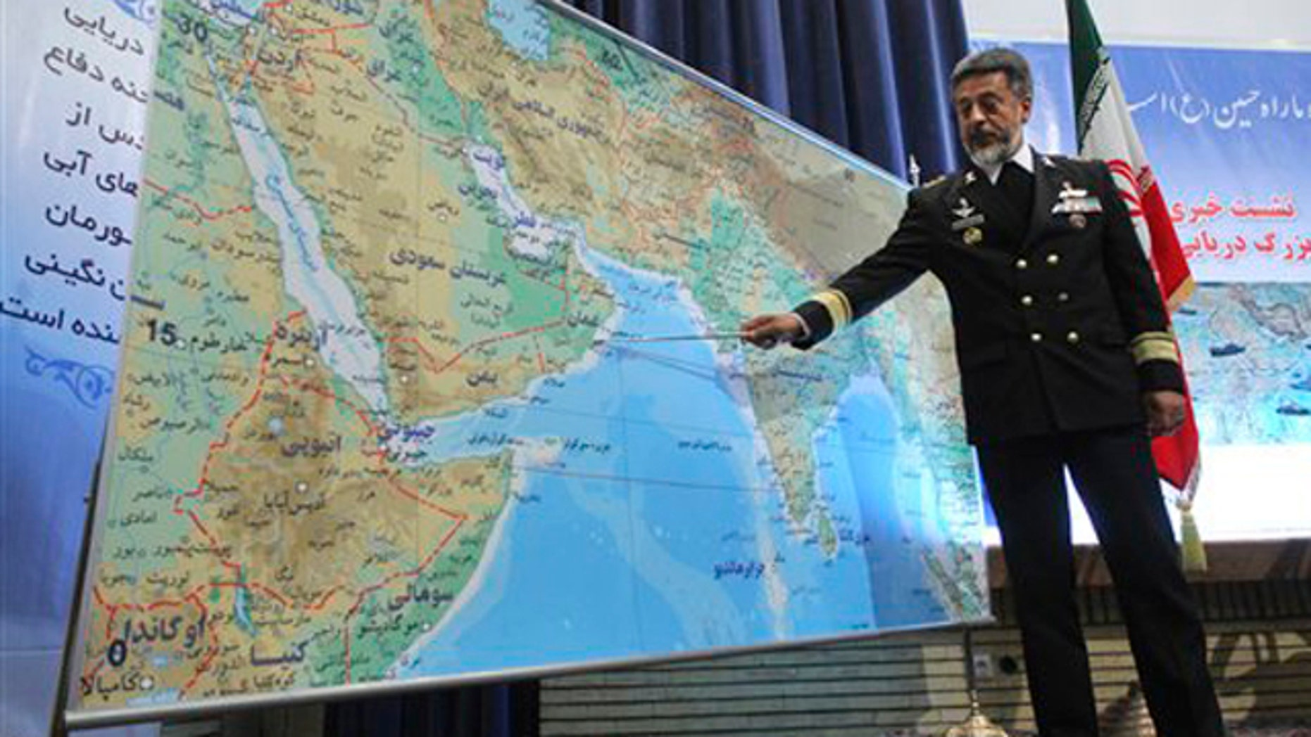 Dec. 22, 2011: Iran's navy chief Adm. Habibollah Sayyari briefs media on an upcoming naval exercise, in a press conference in Tehran, Iran.