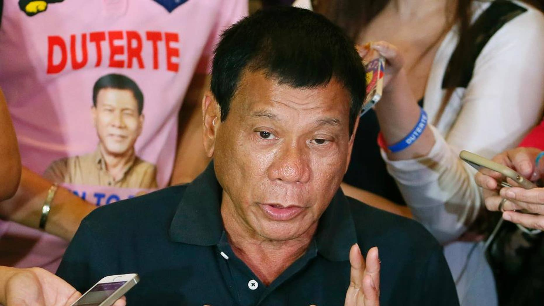 April 29, 2016: Presidential candidate Rodrigo Duterte answers questions from the media in Manila, Philippines.
