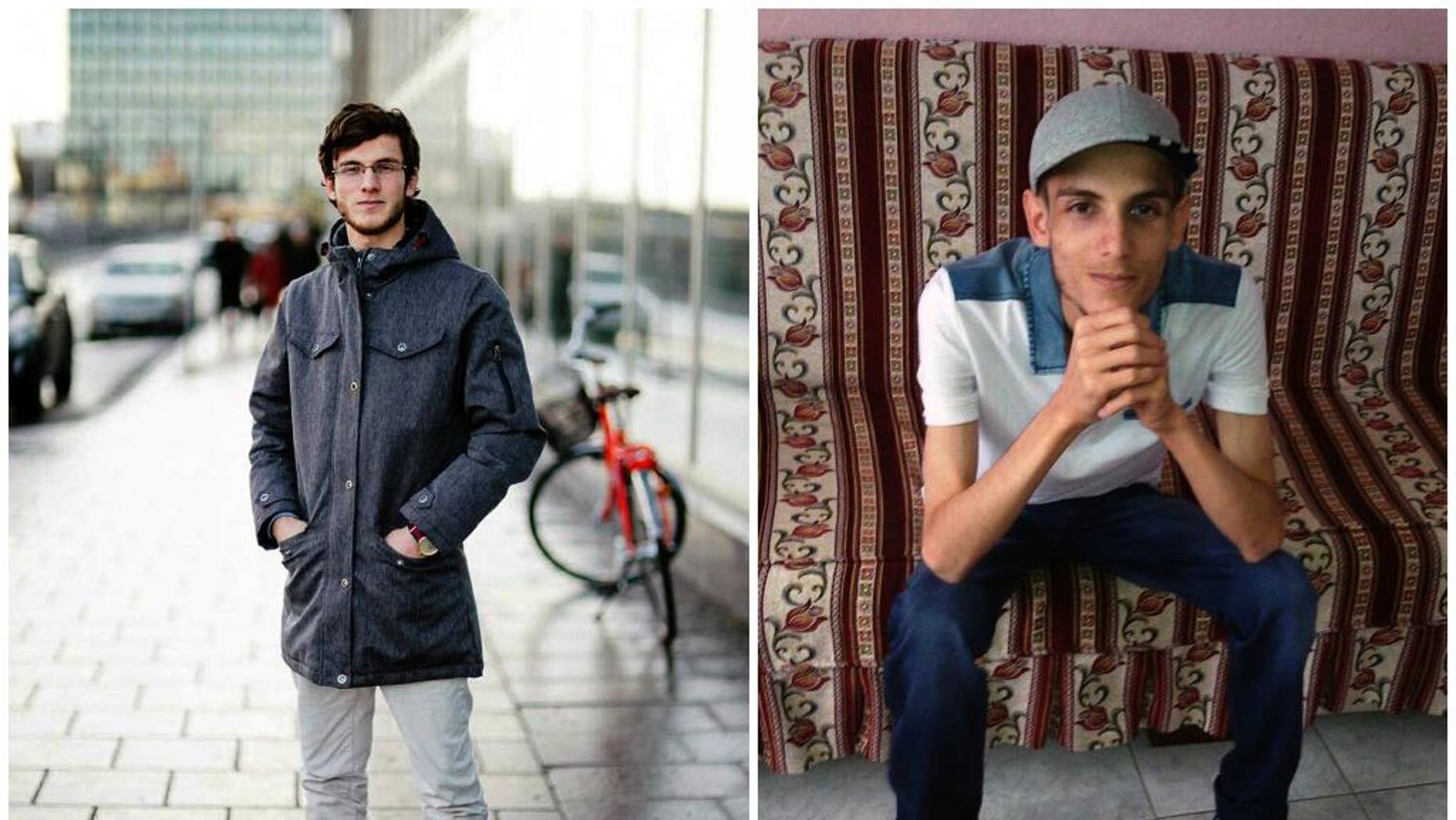 """COMBO - In this combination of two photos of Omar Alshogre, a 21-year Syrian former detainee, now living in Stockholm, Sweden. The left picture is of Alshogre taken on January 2017 in Stockholm, Sweden. The right picture is of Alshogre in July 2015 in Antakya, Turkey, a month after he got out of Syria's Saydnaya prison, near Damascus. While in detention, Alshogre said he heard men escorted to be hanged and had himself been called for """"execution"""" but was spared after a brief trial. Amnesty published a new report on Tuesday revealing that as many as 13,000 men were hanged in secret in a Syrian prison between 2011 and 2015, as part of a government campaign of extrajudicial executions. The group says for five years, once or twice weekly, groups of up to 50 people were taken out of their prison cells and hanged to death. (Handout by Omar Alshogre via AP)"""