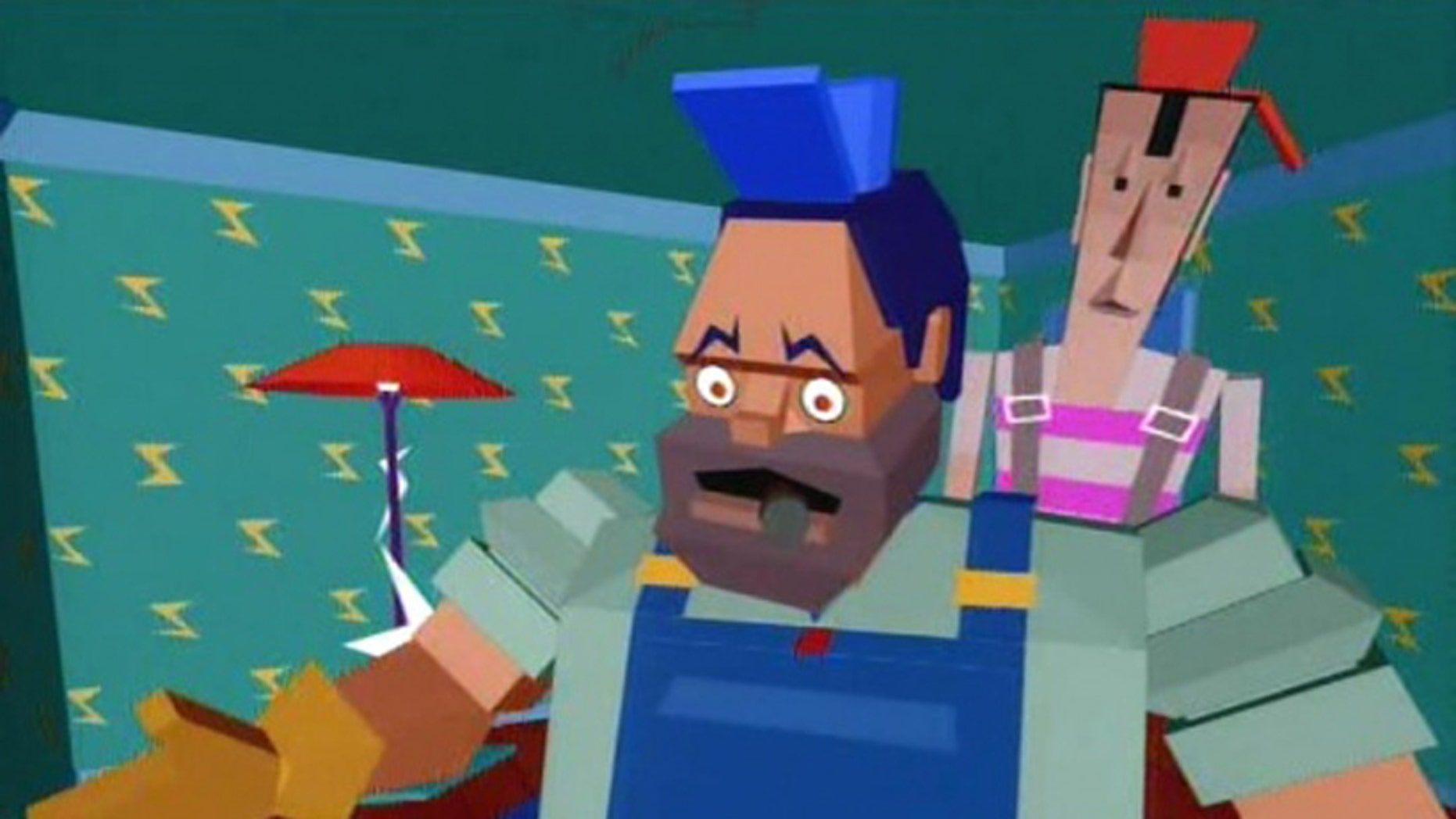 """An image from the video for Dire Straits' """"Money for Nothing."""""""