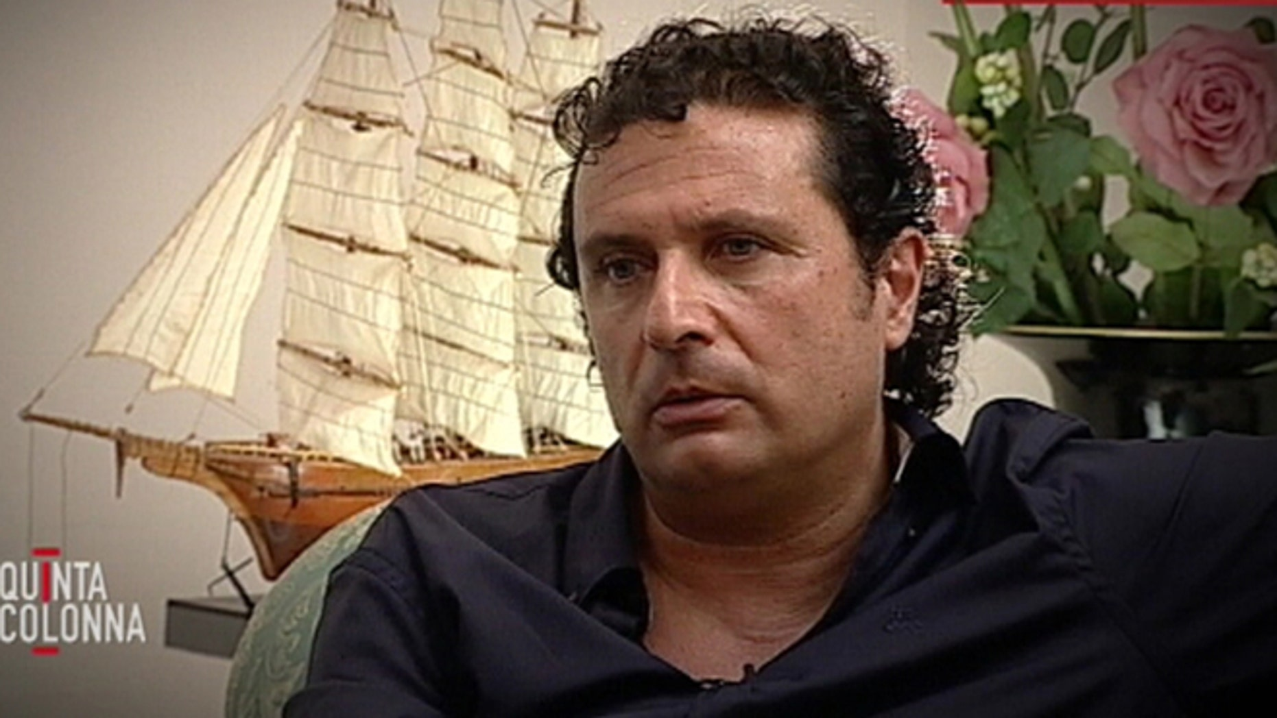 """In this frame grab taken from video and released by Italian media conglomerate Mediaset on Tuesday, July 10, 2012, Francesco Schettino is seen during an exclusive interview to the """"Quinta Colonna"""" programme that was broadcast, Tuesday, July 10, 2012 on Mediaset Channel 5."""