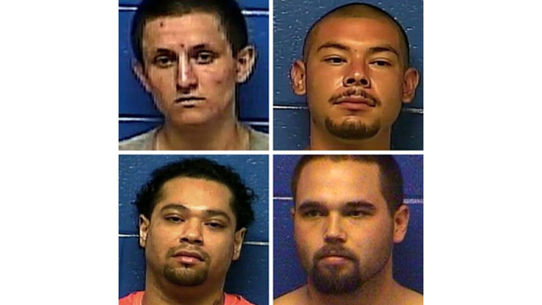 These photos show, clockwise from top left: Dylan Ray Three Irons, Prime Tounwin Brown, Triston Cheadle, and Anthony James Mendonca (Caddo County Sheriff's Office)